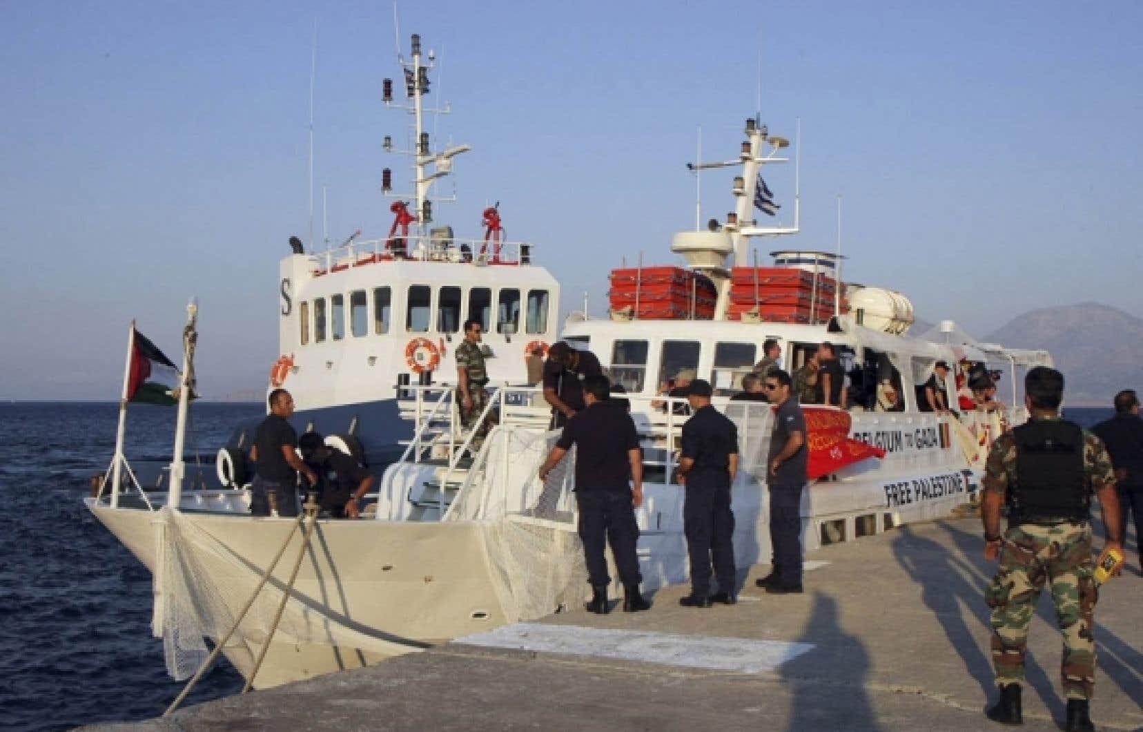 Le navire canadien Tahrir est retourné au port, en Crète, après avoir été intercepté hier par la garde côtière et l'armée grecques.<br />