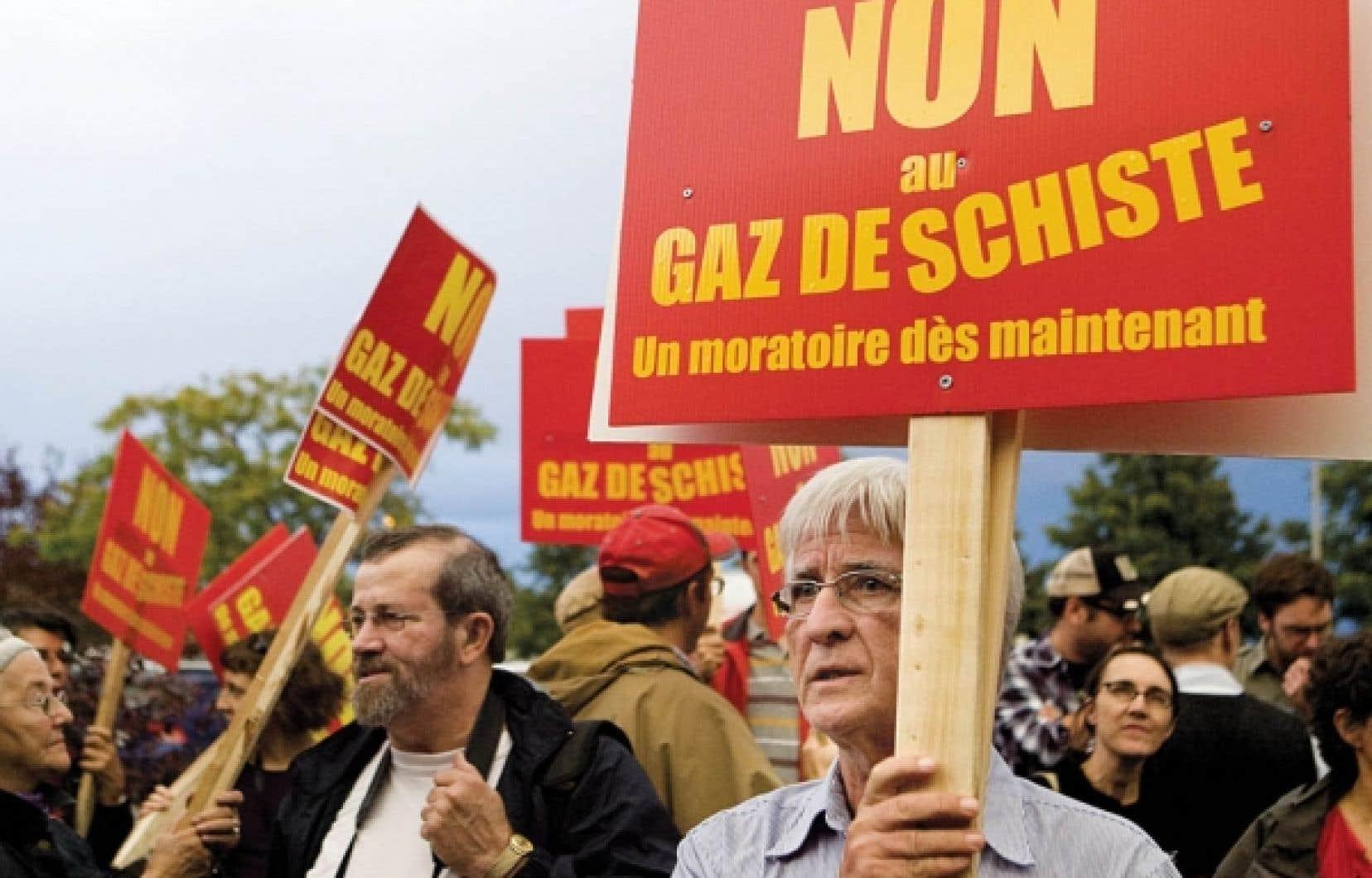 Manifestation contre l&rsquo;exploitation du gaz de schiste &agrave; Saint-Hyacinthe l&rsquo;automne dernier.<br />