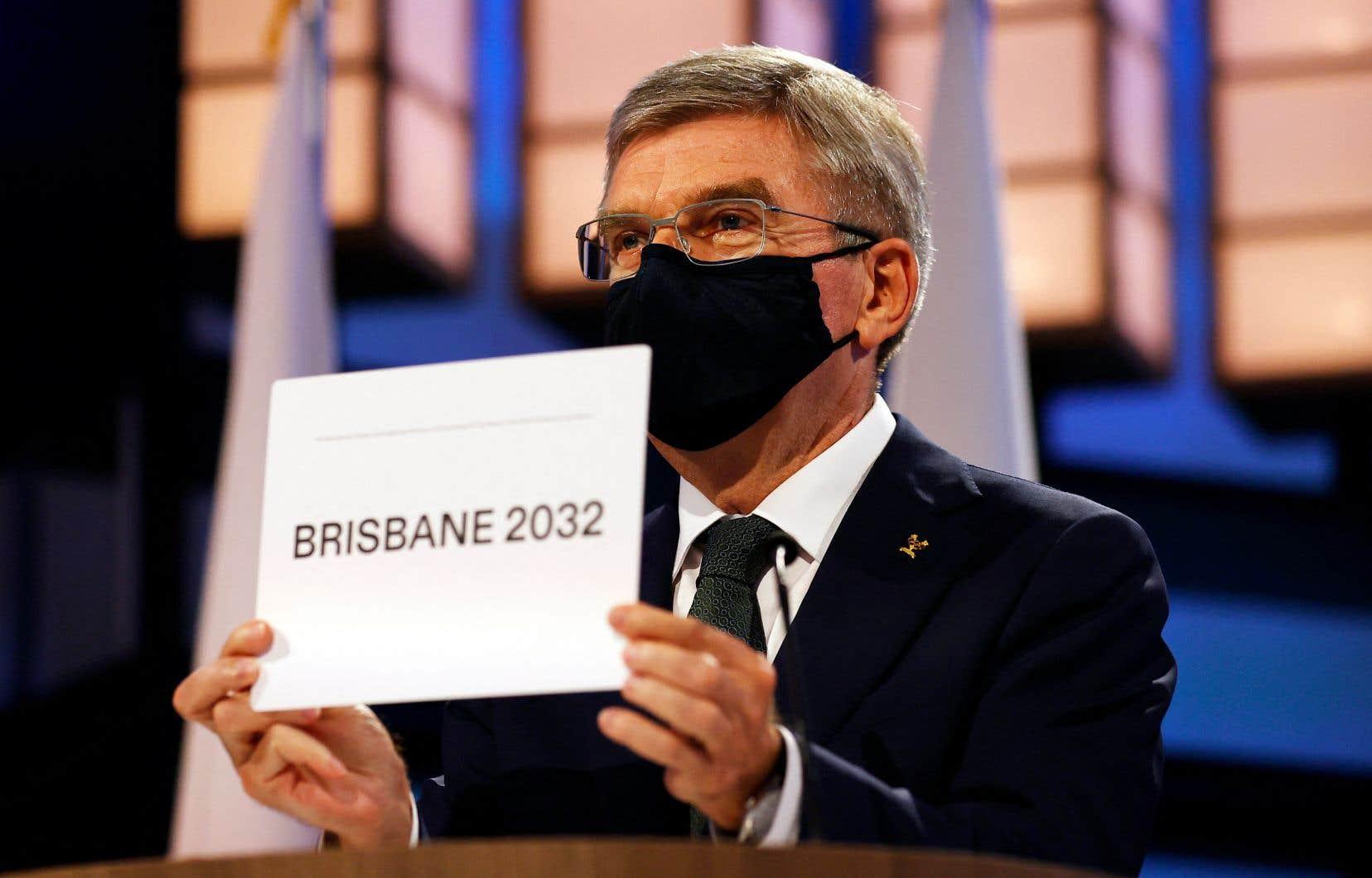 Mercredi, le patron du CIO, Thomas Bach, a annoncé que Brisbane serait la ville hôte des Jeux Olympiques d'été de 2032, lors de la 138e Session du CIO à Tokyo le 21 juillet 2021.