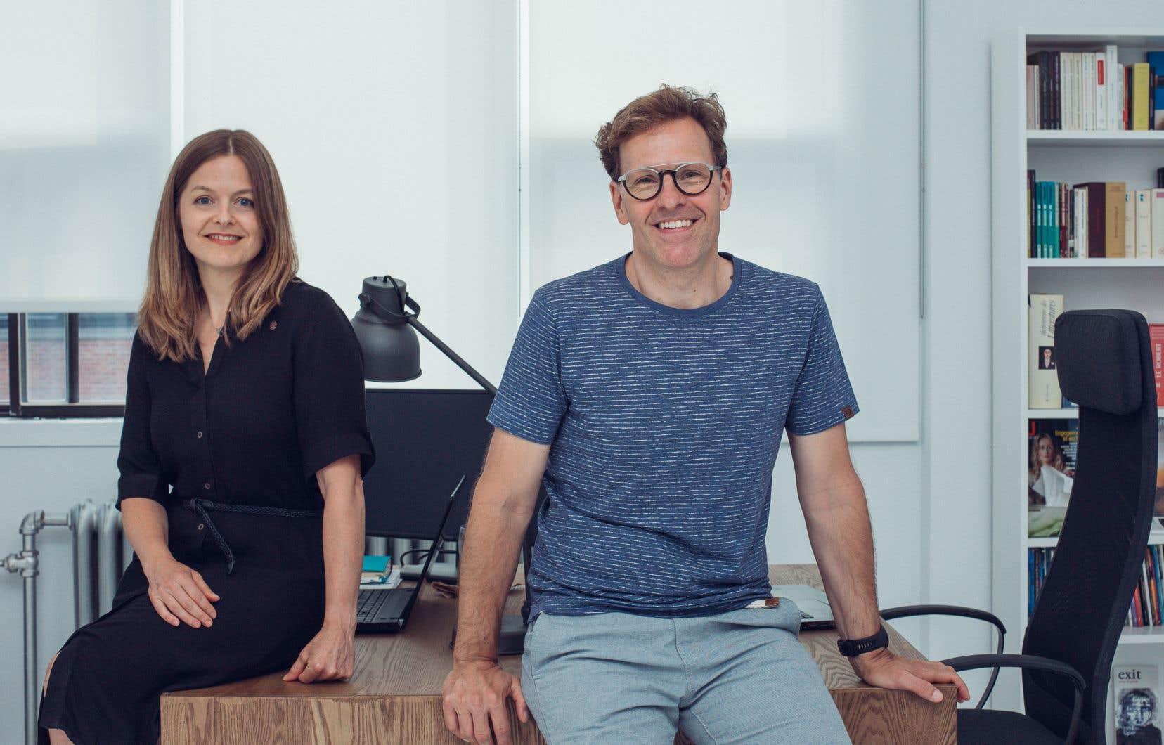 Corinne Chevarier et Stéphane Despatie dans les locaux de leur nouvelle maison d'édition
