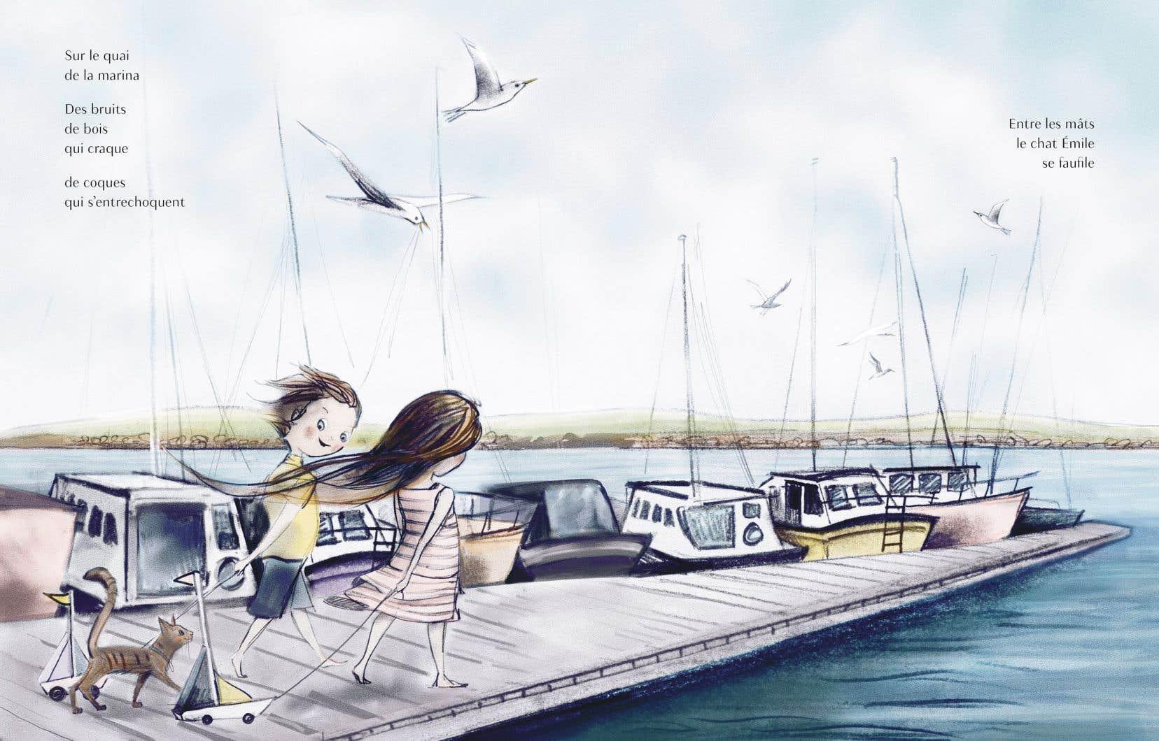 Écrit par Marie-Andrée Arsenault et illustré par Catherine Petit, «Un chemin dans la mer» est une ode à l'insouciance de l'enfance.