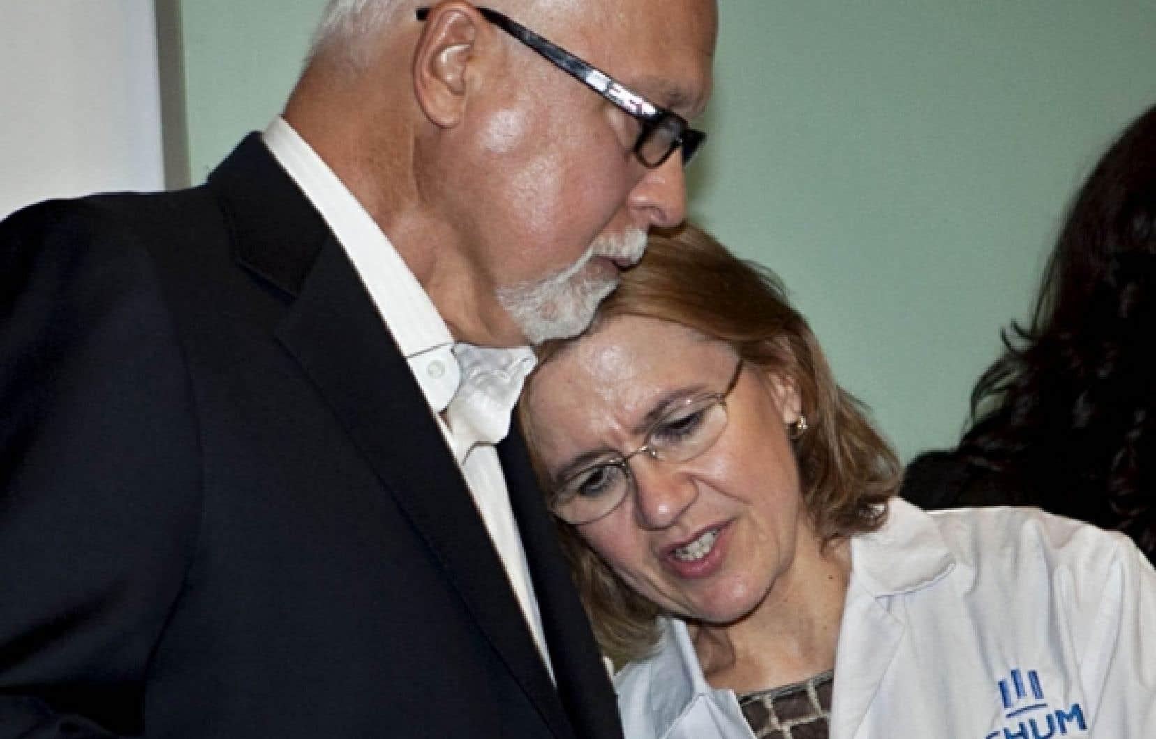 René Angélil et de l'oto-rhino-laryngologiste (ORL) et chirurgienne cervicofaciale Lyne Desnoyers<br />