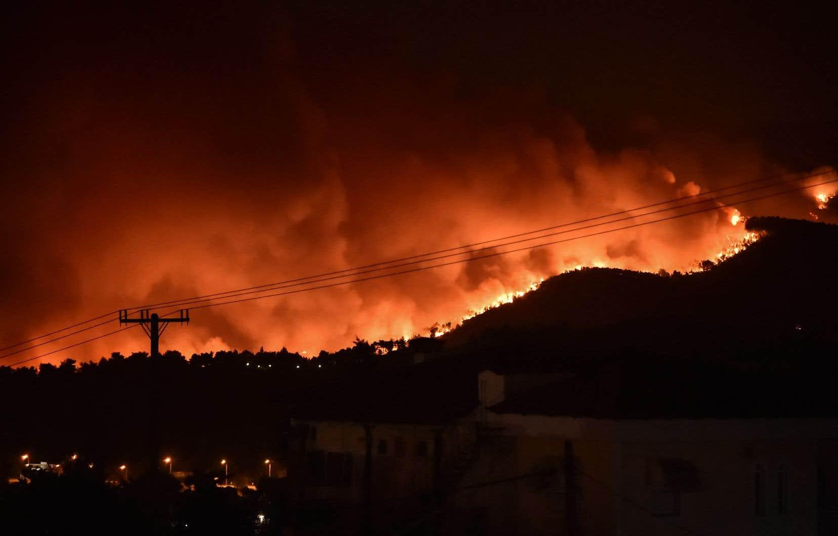 Vendredi soir, la protection civile grecque estimait que 64 des 154 feux dénombrés dans la journée continuaient de faire rage.