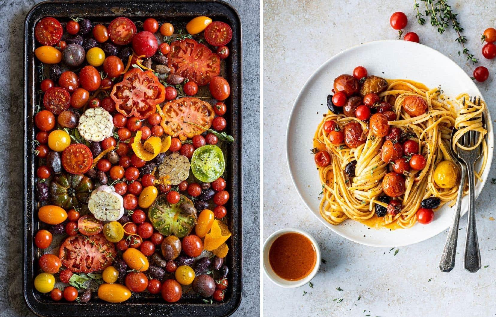 Les tomates confites peuvent être servies en accompagnement ou sur des pâtes, par exemple.