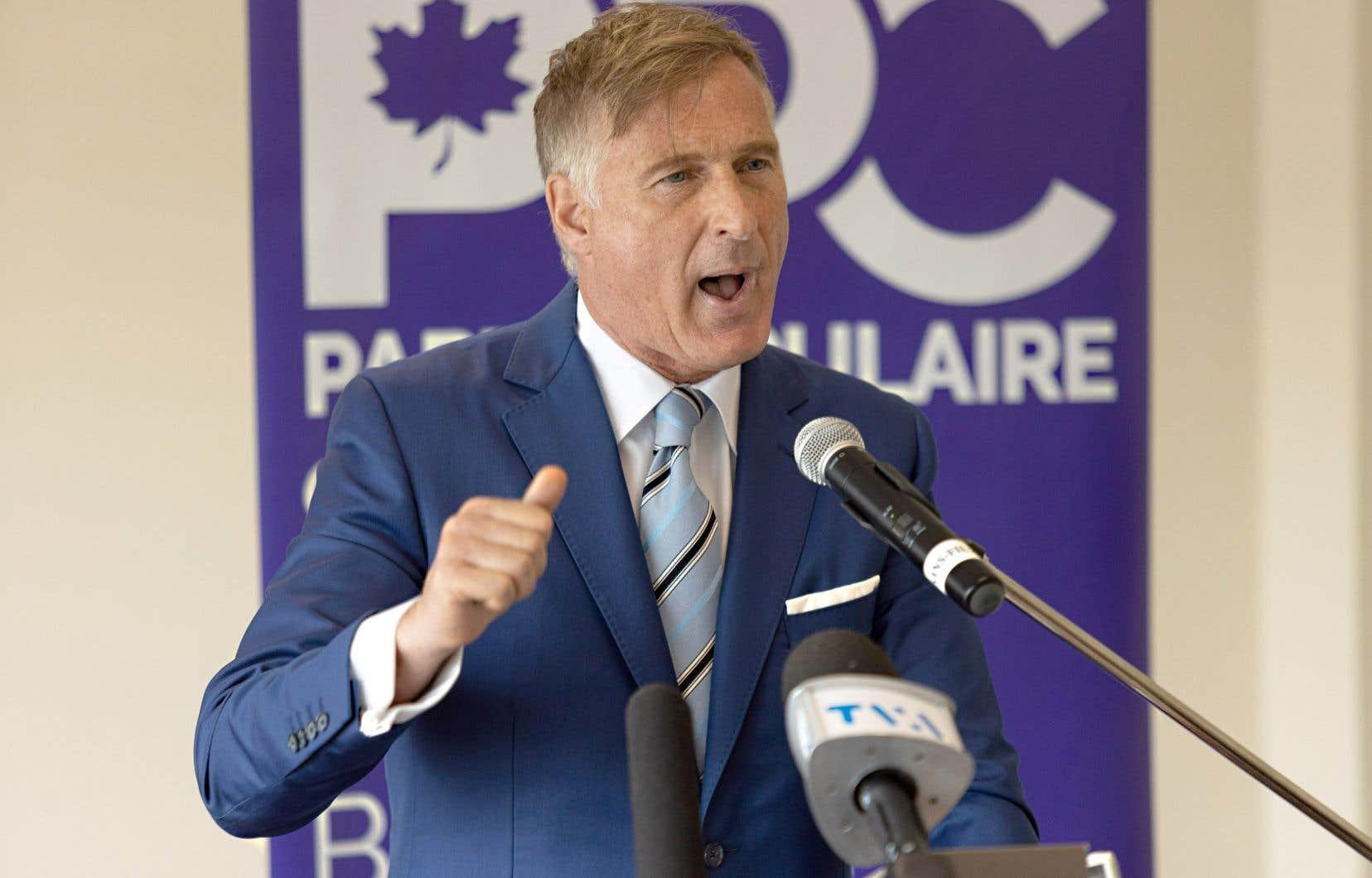 À part une dizaine de représentants des médias, seuls quelques membres de l'équipe de Maxime Bernier étaient présents au lancement de sa campagne, en plus de sa famille.