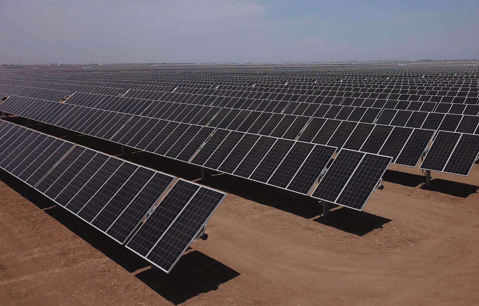 Des panneaux solaires ont été installés dans ce qui était autrefois un champ utilisé pour l'agriculture, près de Huron, en Californie.