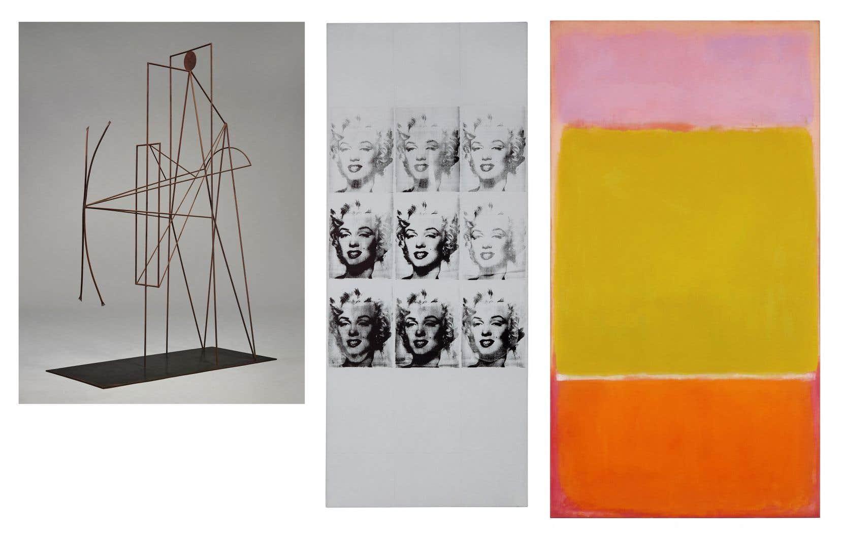 De gauche à droite: les œuvres de Pablo Picasso, Andy Warhol et Mark Rothko qui seront mises en vente par Sotheby's.