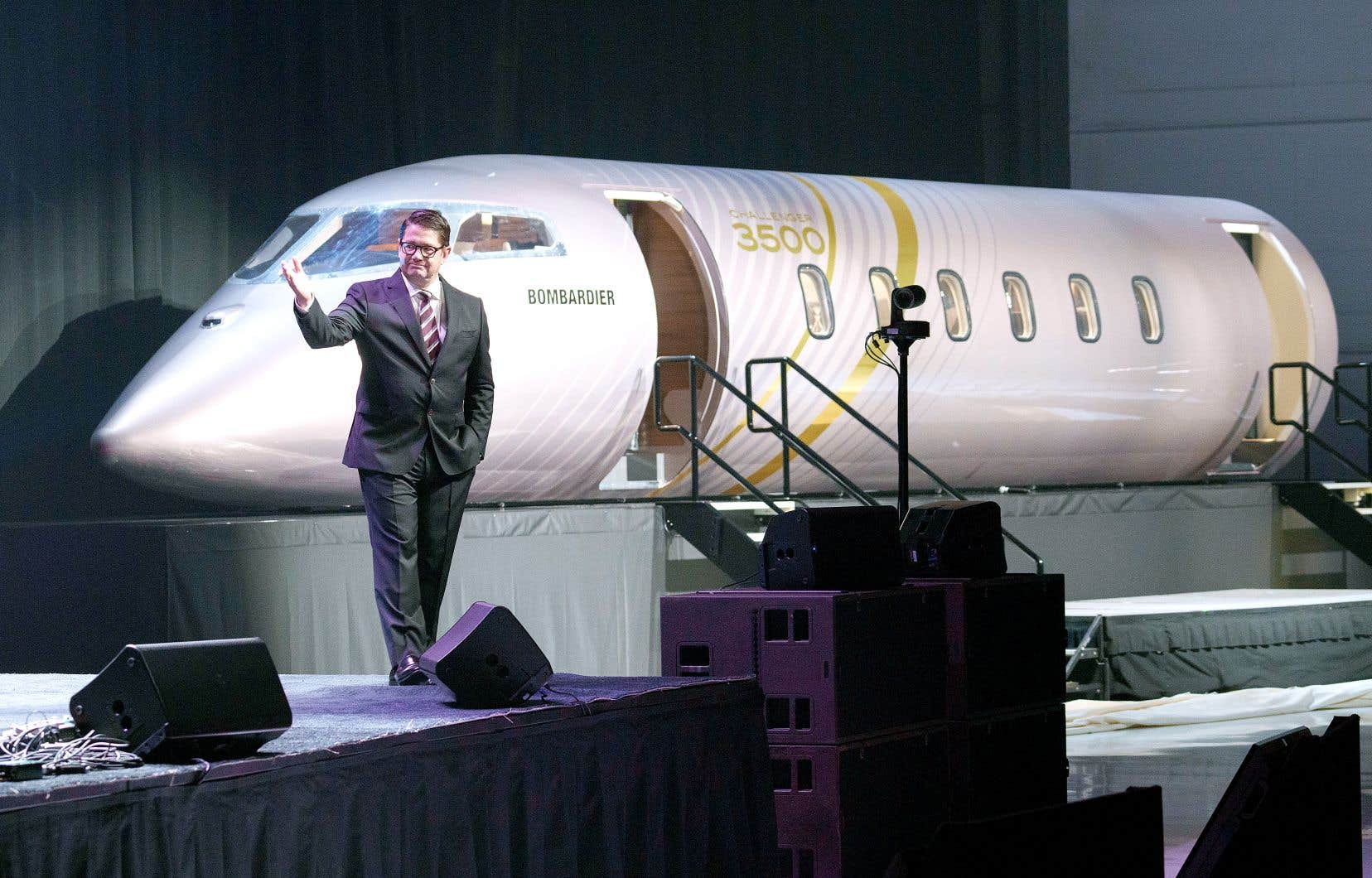 Le président et chef de la direction de Bombardier, Éric Martel, a présenté le nouveau Challenger 3500 mardi. Il s'agit d'une mise à jour de la cabine de Challenger 350, lancé en 2014. Ce nouvel appareil devrait être mis en service en 2022.