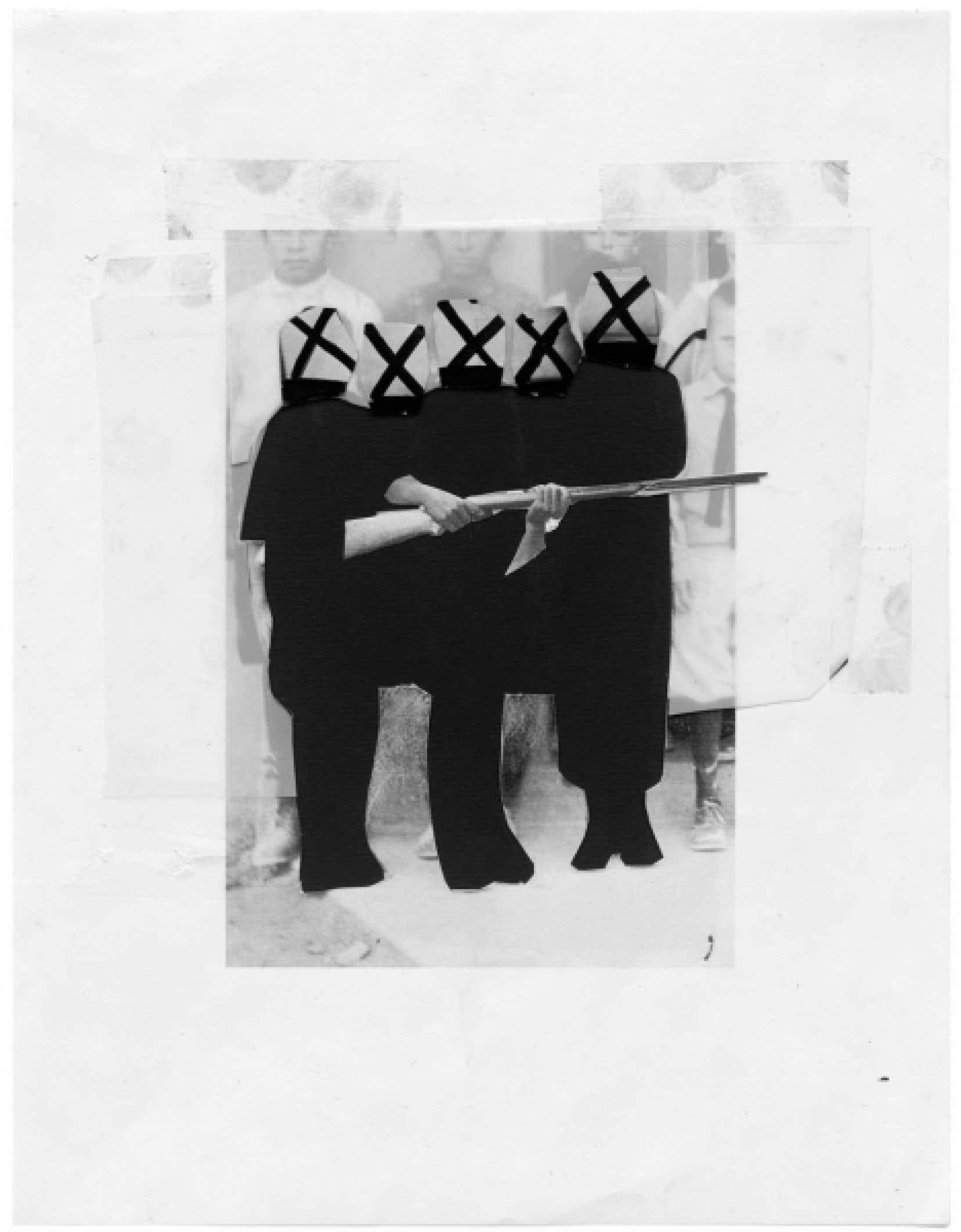 Collage de Sophie Jodoin, 2009-2010. Cont&eacute;, coupures de magazines, impression jet d&rsquo;encre, Mylar sur papier, 28 x 21,5 cm<br />