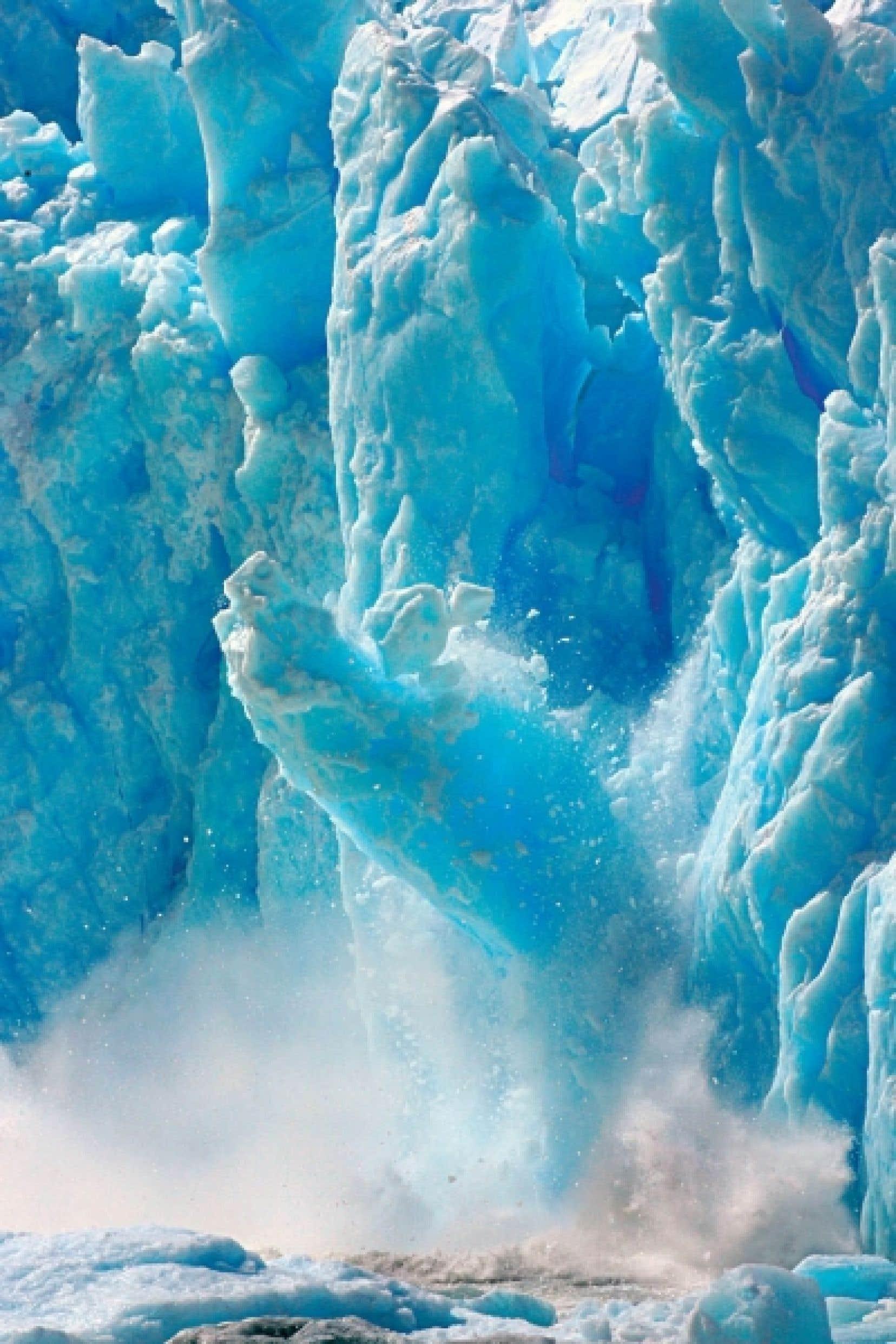 La fonte accélérée des grands glaciers menace les réserves d'eau douce du globe. Ci-dessus: le glacier San Rafael, en Patagonie.