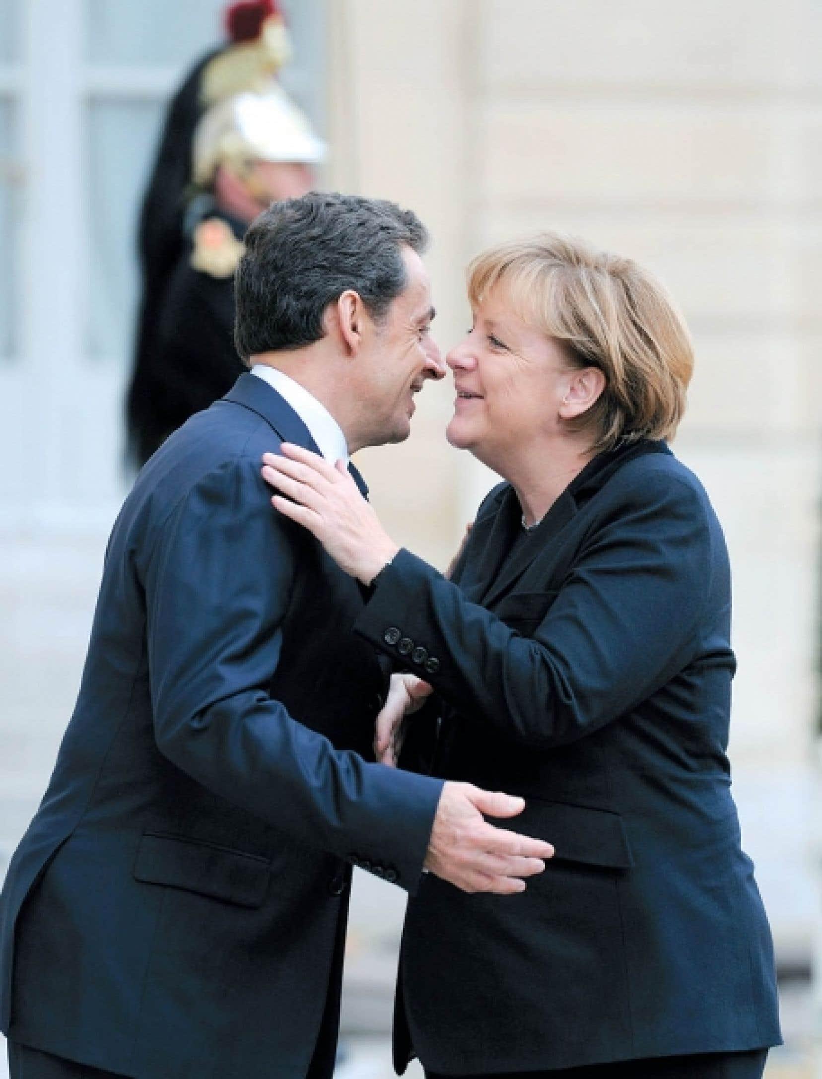 Le président français, Nicolas Sarkozy, et la chancelière allemande, Angela Merkel<br />