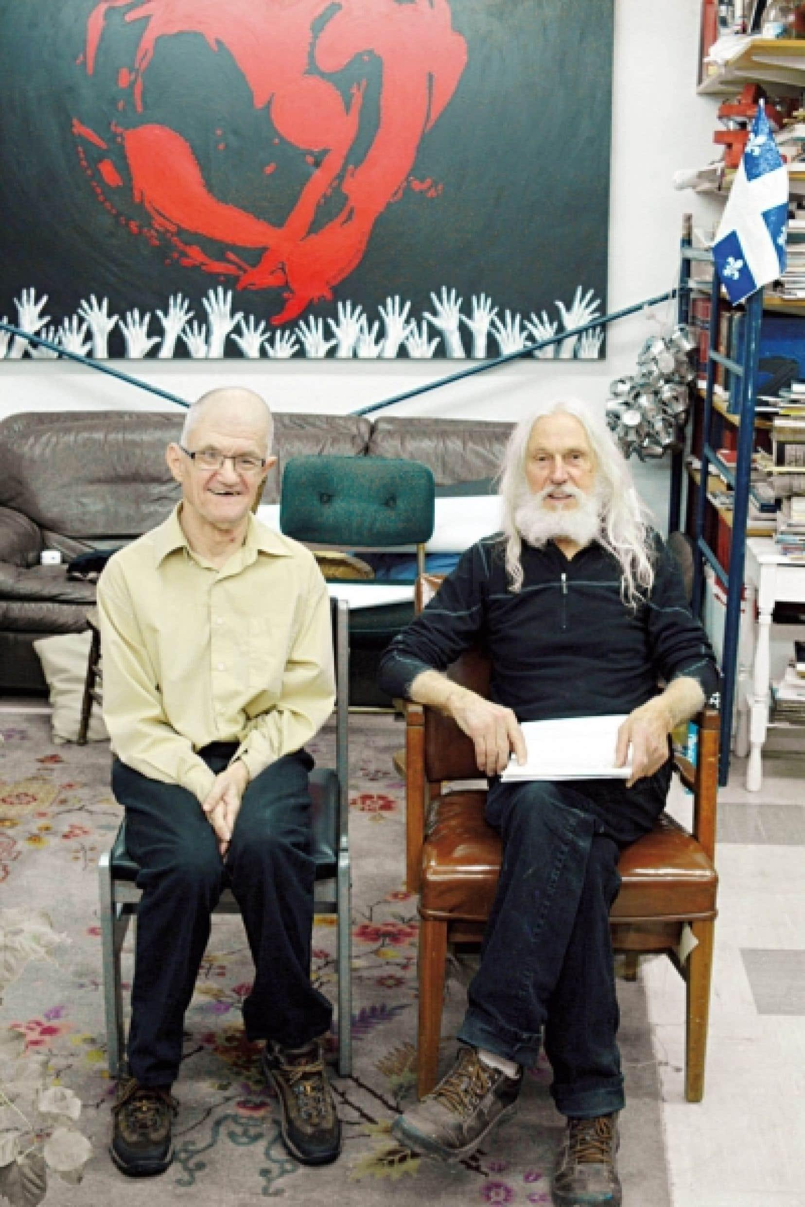 Gilles Grégoire et le sculpteur Armand Vaillancourt<br />