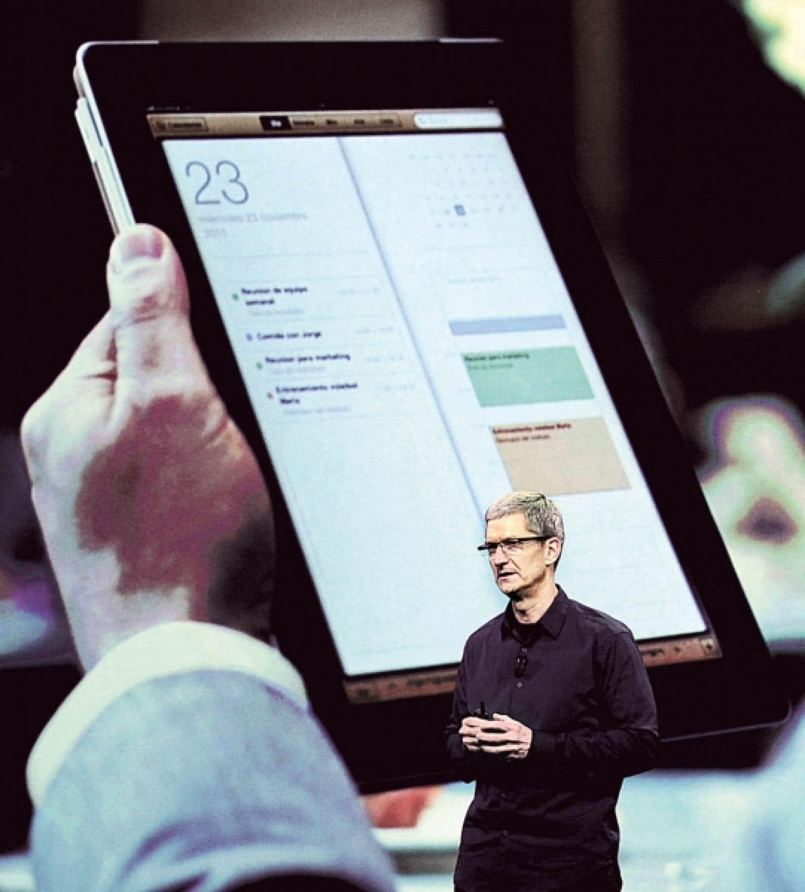 Tim Cook, le grand patron d'Apple, lors de la présentation de la nouvelle tablette.
