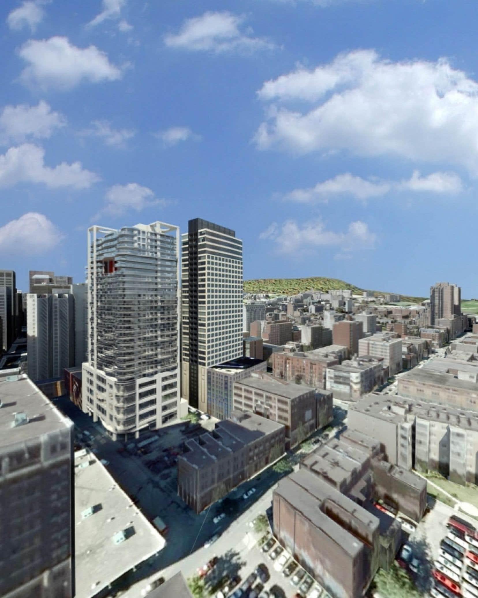 L'immeuble Peterson, dans le Quartier des spectacles, comptera 34 étages et 280 logements. Il sera érigé rue de la Concorde, au sud de la rue Sherbrooke.<br />