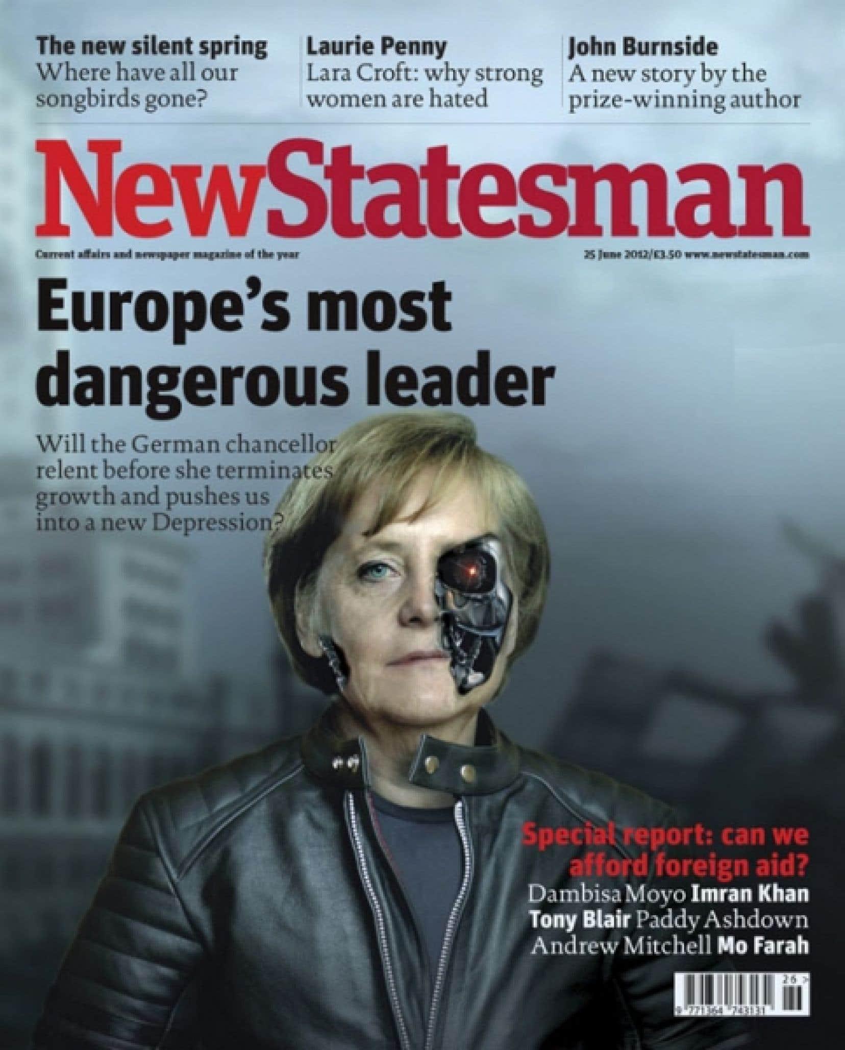 Les journaux et périodiques ne se gênent pas pour critiquer la position rigide qu'a adoptée jusqu'ici Angela Merkel, comme en fait foi cette première page de NewStatesman.
