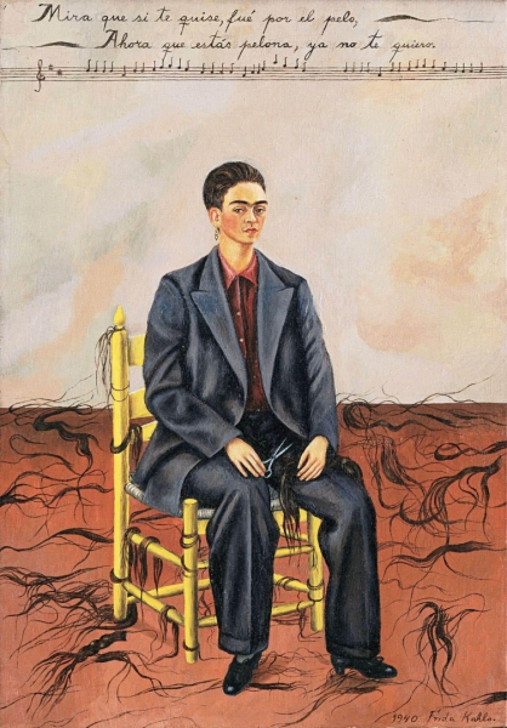 Autorretrato con pelo cortado (autoportrait avec cheveux courts), Frida Kahlo (1940)
