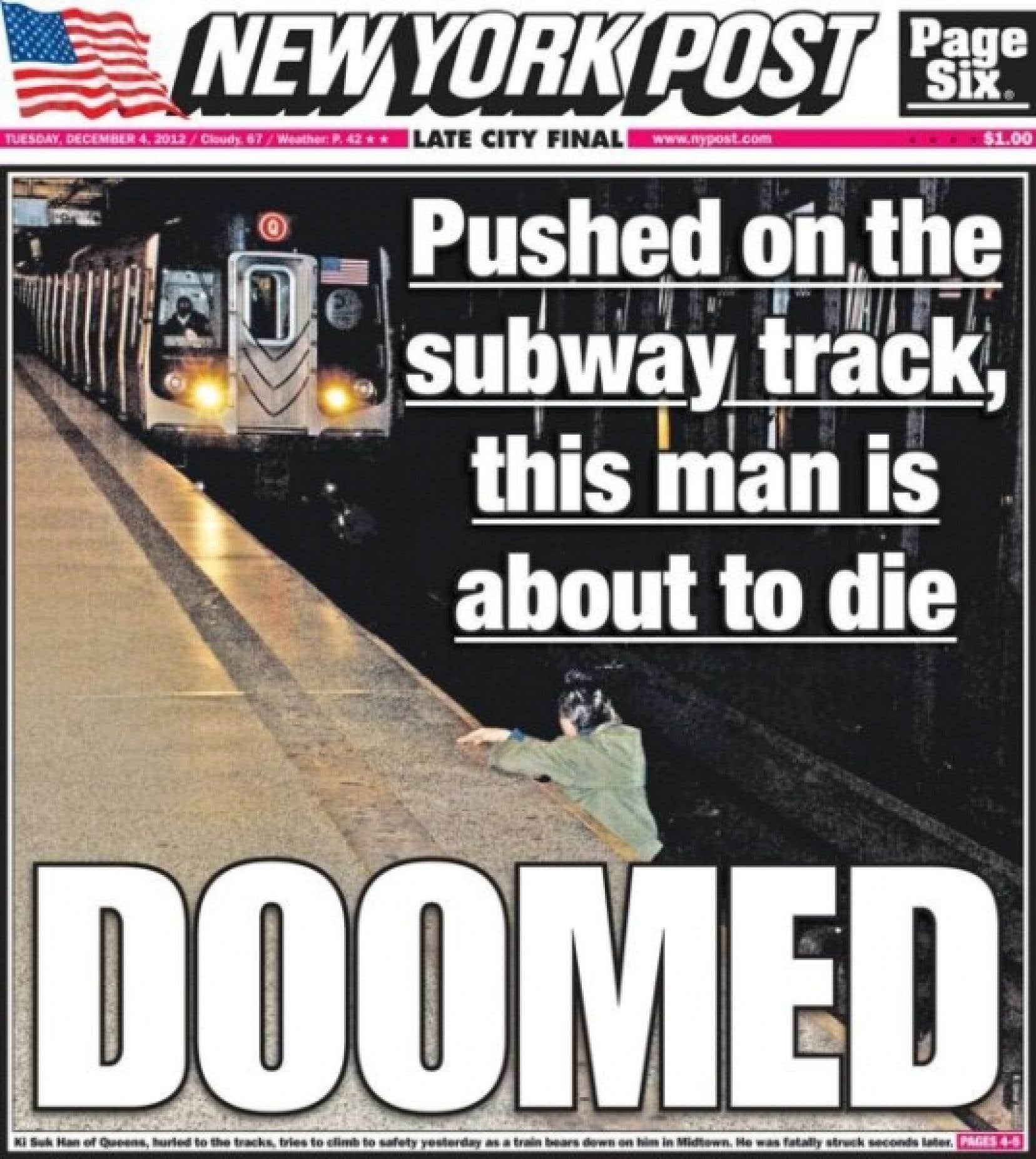 La une du <em>New York Post</em><br />