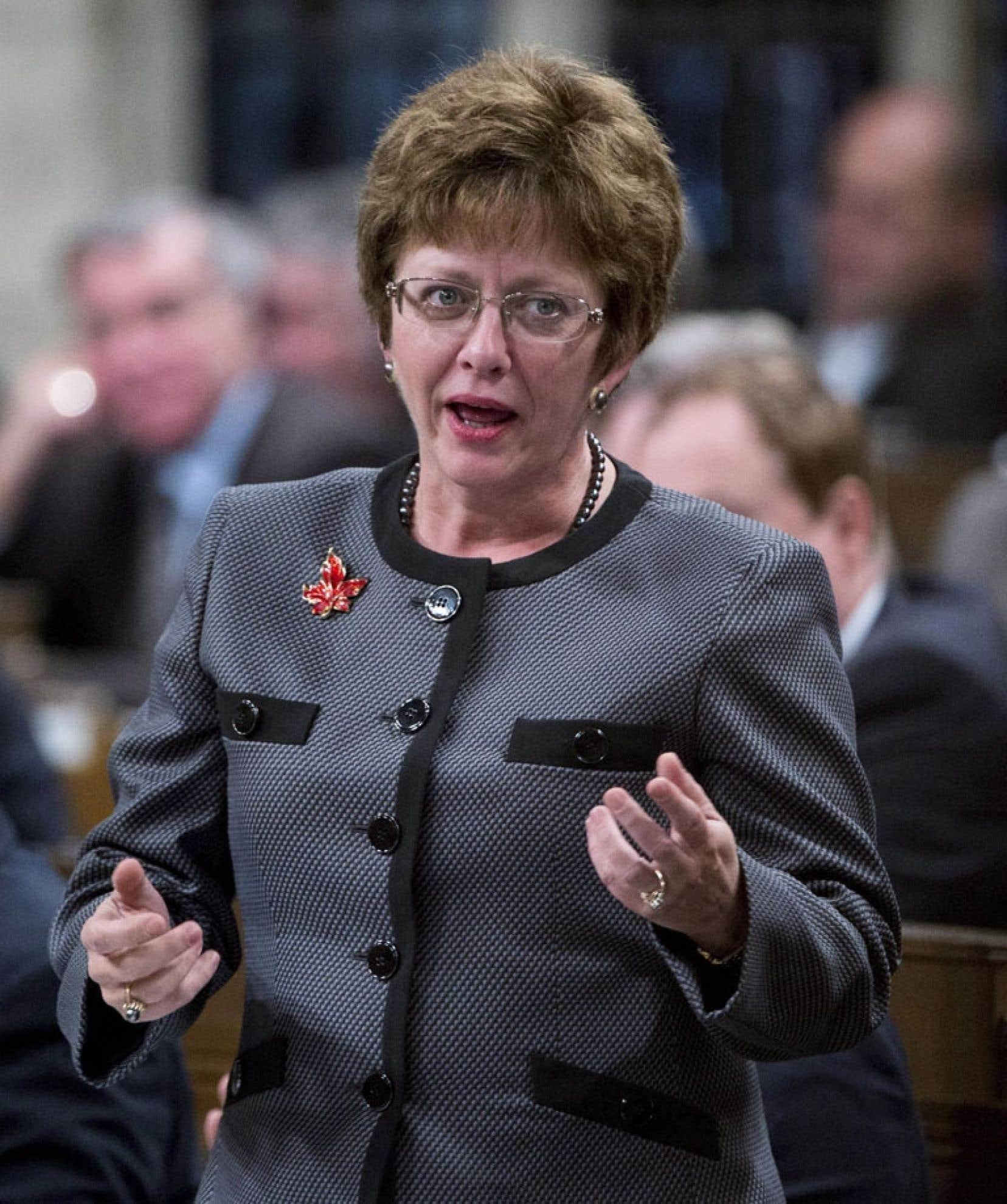 La ministre fédérale des Ressources humaines, Diane Finley à la Chambre des communes mercredi