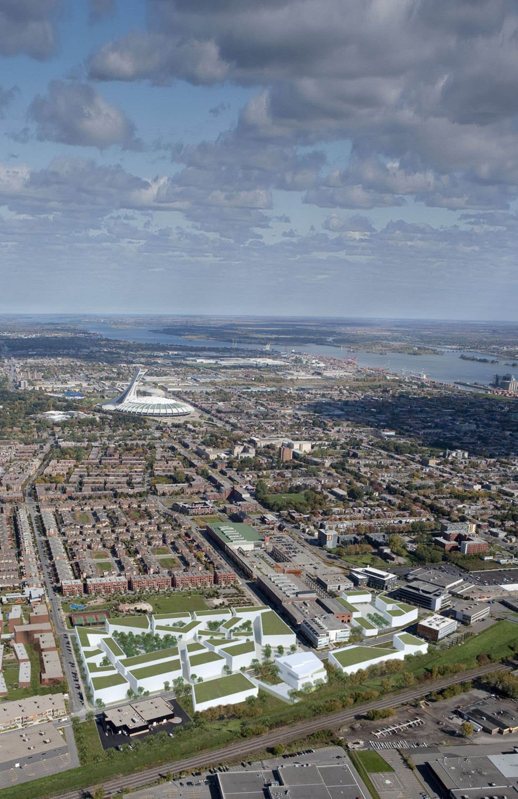 Au premier plan apparaît un aperçu du plan d'aménagement du Technopôle Angus.