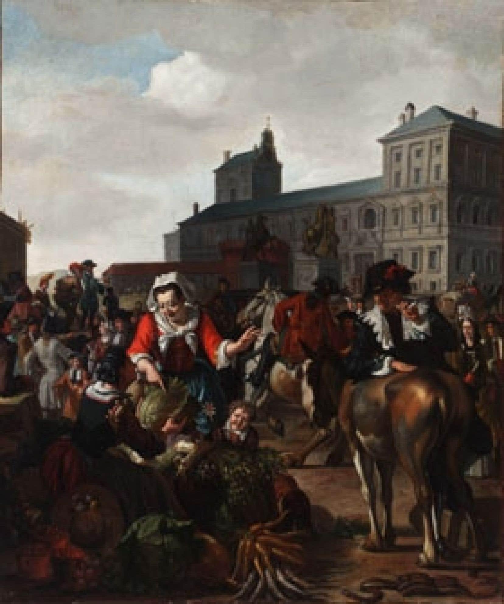 Scène de marché sur la place Navona à Rome, une huile sur toile de 49,5 X 41 cm, signée par Mathijs  Naiveu, datée de 1691. L'oeuvre appartenant au Dr Max Stern a fait l'objet d'une vente forcée à Cologne en 1937 et se retrouve aux enchères