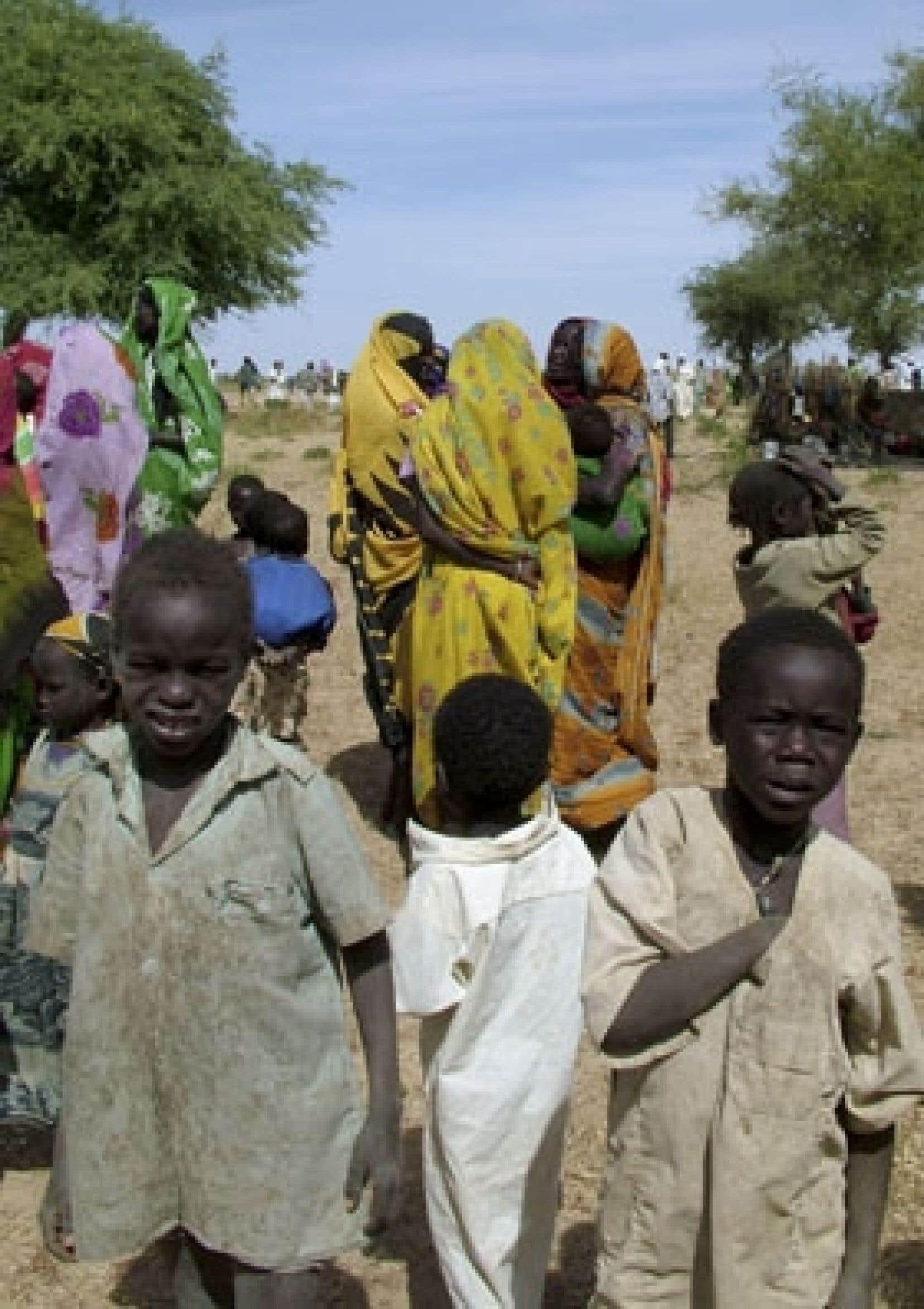 Réfugiés soudanais à la frontière entre le Tchad et le Soudan.