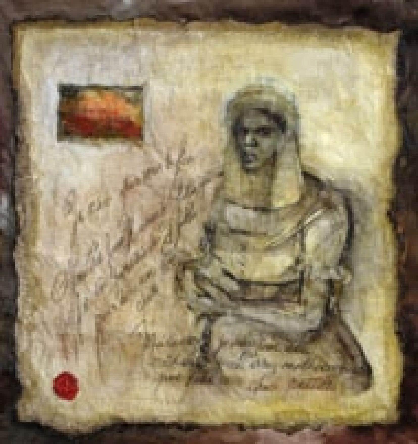Portrait de Marie-Josèphe-Angélique par Marie-Denise Douyon, 2006, technique mixte (pastel, huile et térébenthine) sur papier marouflé sur toile.