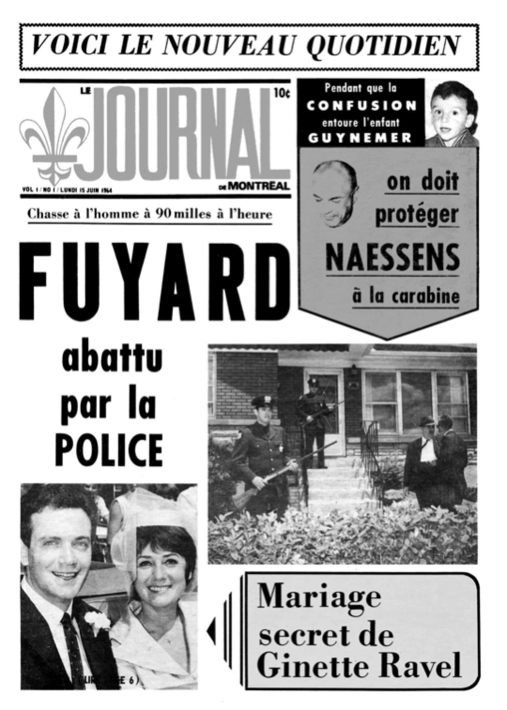 La une de la première édition du Journal de Montréal le 15 juin 1964
