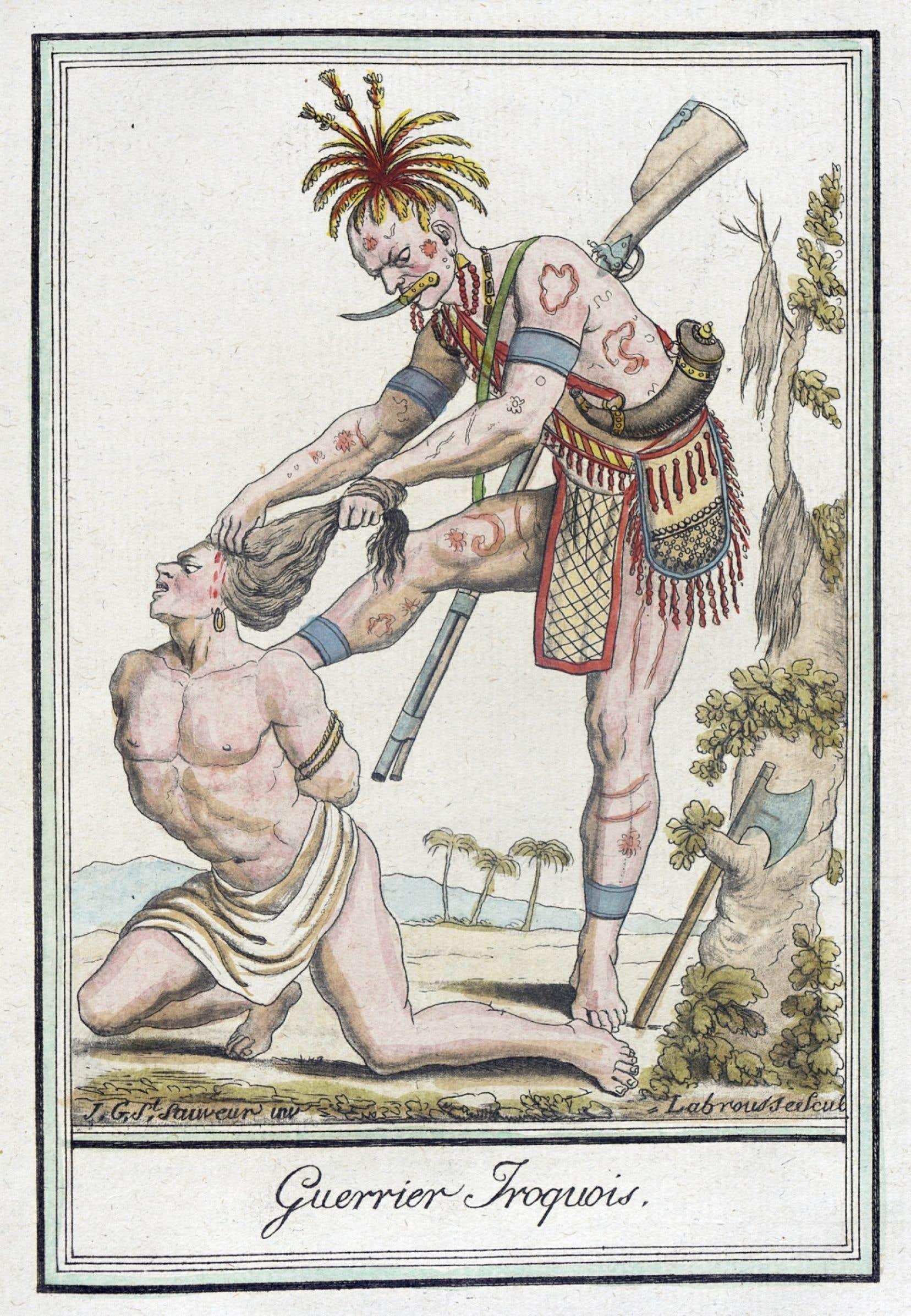 Guerrier iroquois dessiné par Jacques Grasset de Saint-Sauveur au XVIIIe siècle. La scalpation a profondément marqué l'imaginaire du Nouveau Monde.