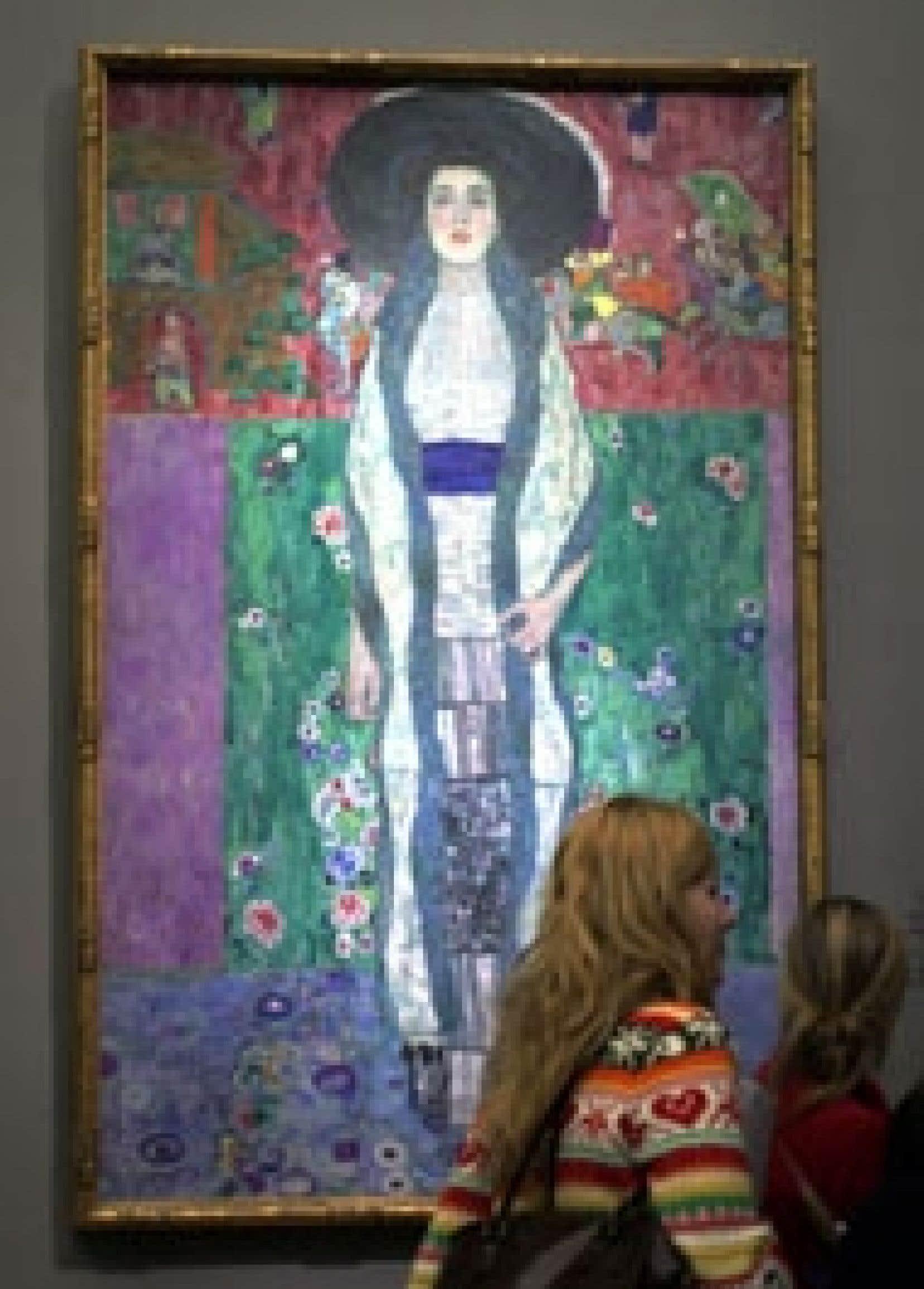 Un des célèbres portraits d'Adèle Bloch-Bauer, de Gustav Klimt, est exposé à la galerie du Belvédère de Vienne.