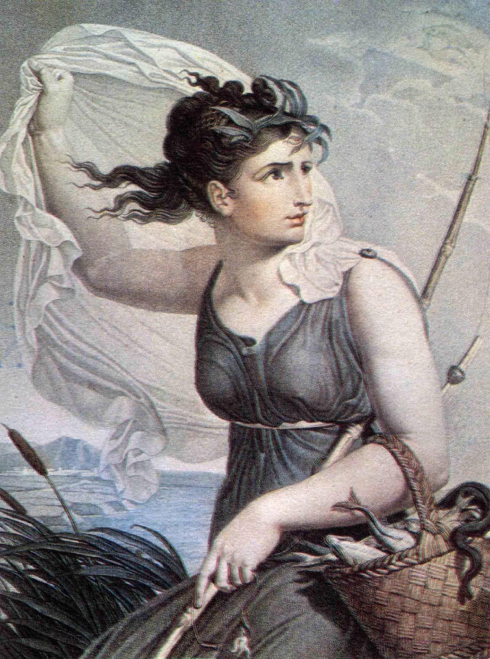 La Nymphe du rivage représente le sixième mois du calendrier républicain, ventôse.