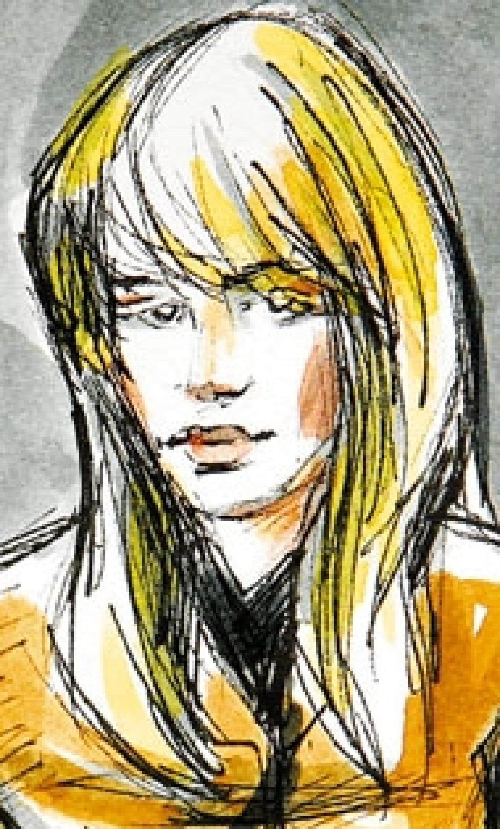 Karla Homolka vue par une artiste au palais de justice de Joliette hier.
