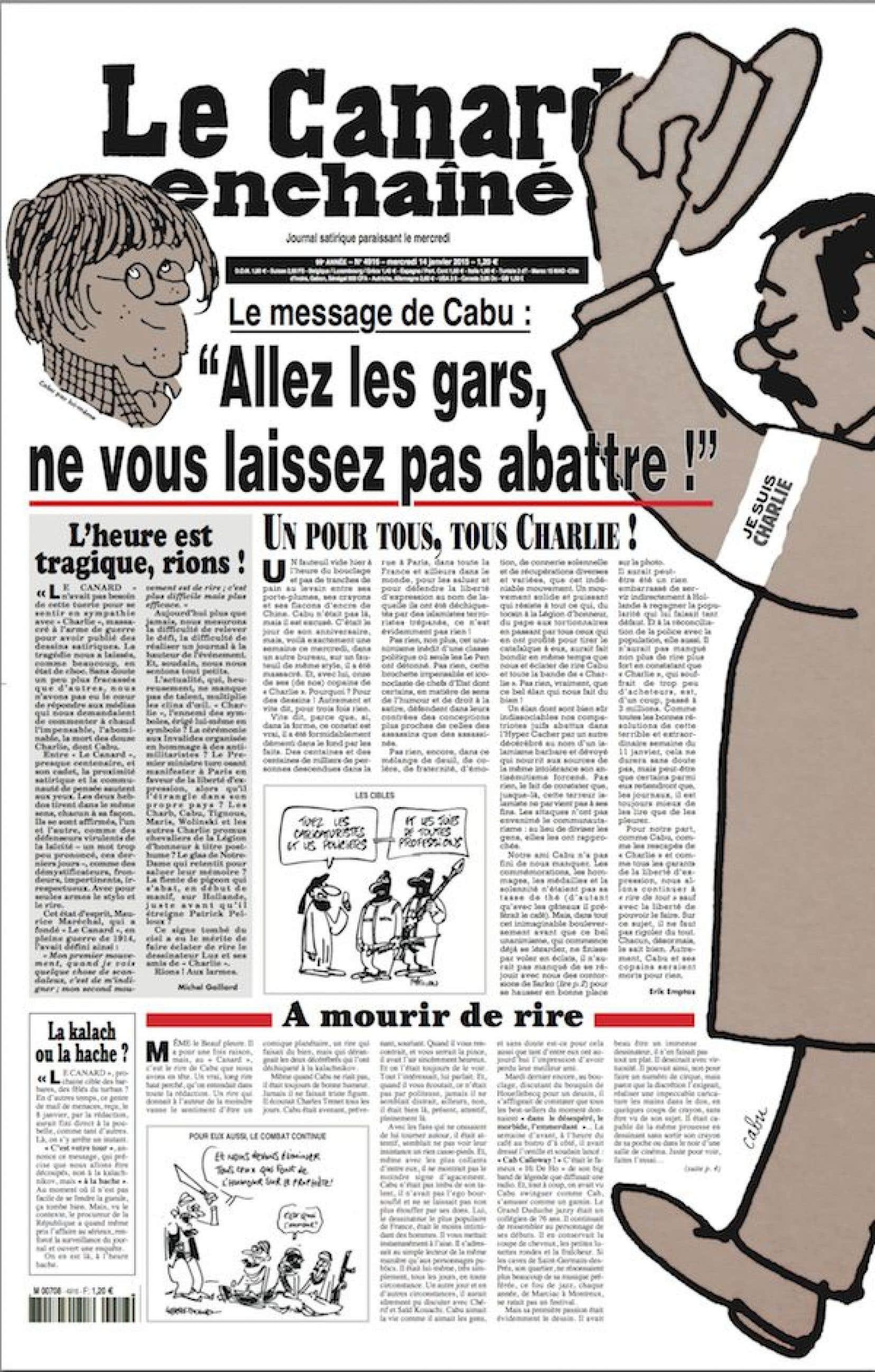 Tous les articles de la page que laisse circuler le <em>Canard</em> traitent de l'attentat à<em>Charlie Hebdo.</em>