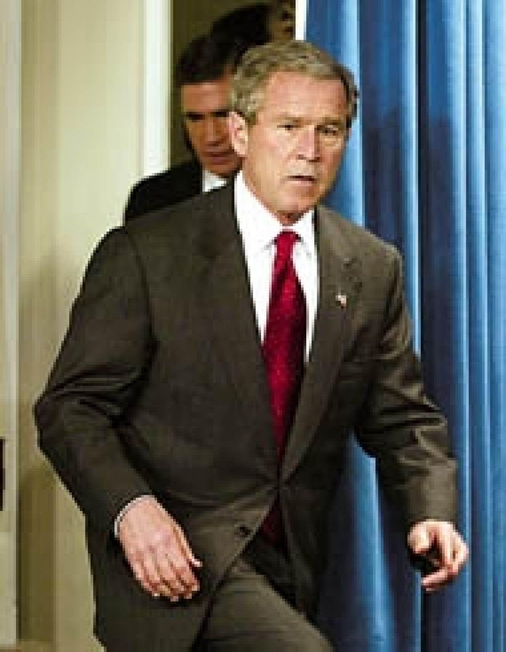 George W. Bush à son arrivée à la Maison-Blanche, hier. Larry Downing Reuters