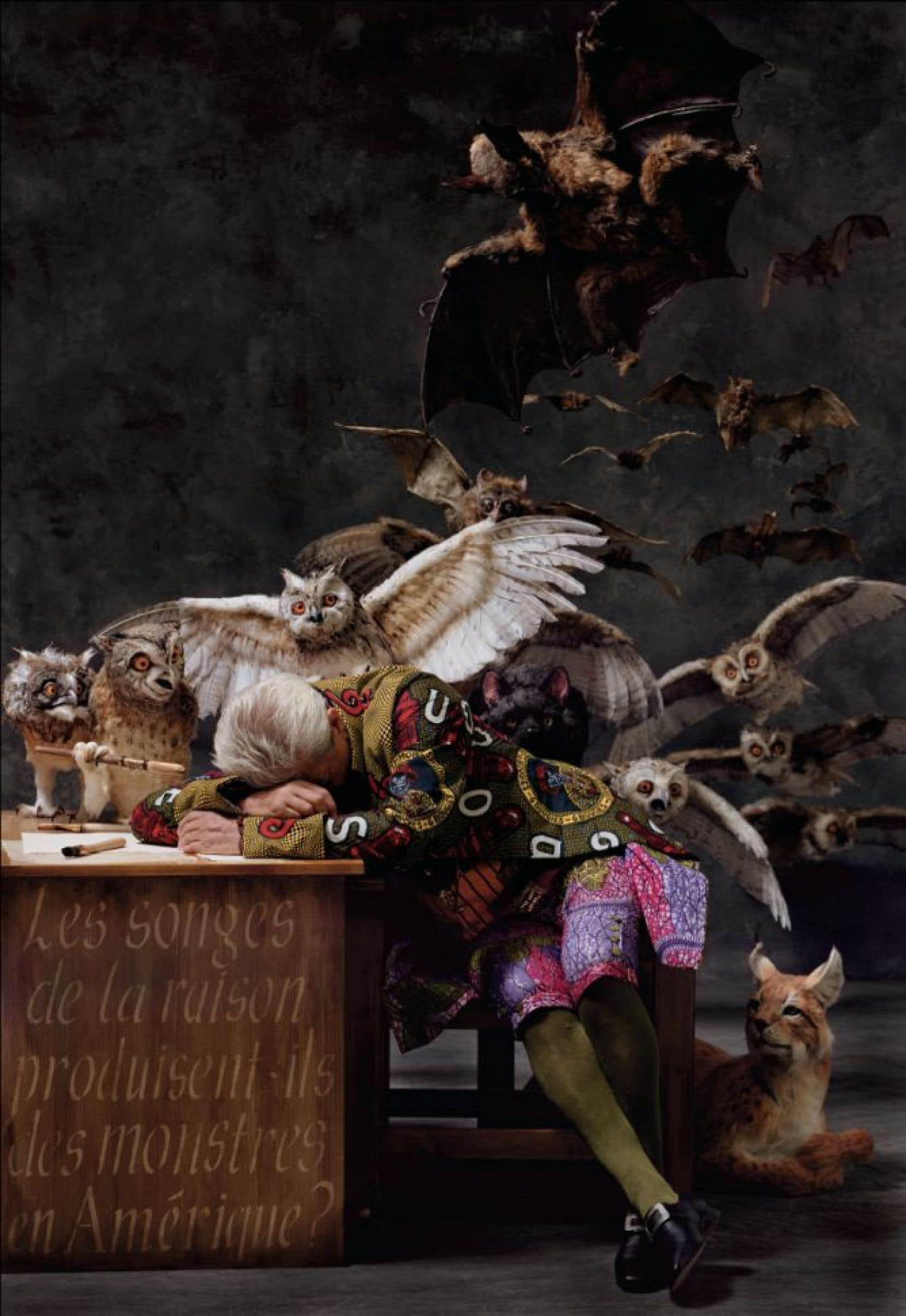 Cette exposition de l'artiste britannique d'origine nigériane est la première d'envergure au Canada. Yinka Shonibare MBE, The Sleep of Reason Produces Monsters (America), 2008.