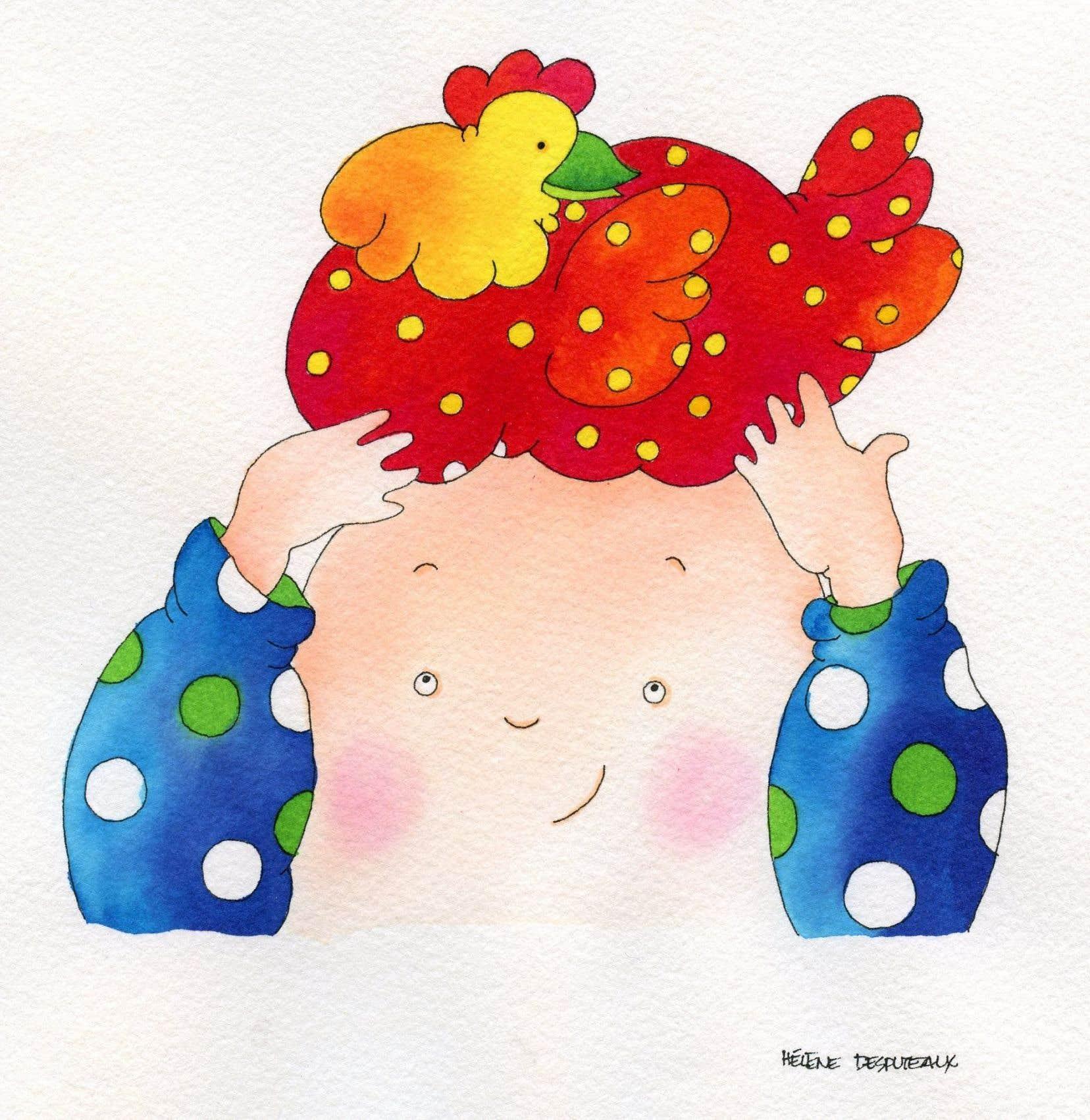Le personnage chauve et coloré, ici sous le trait d'Hélène Desputeaux
