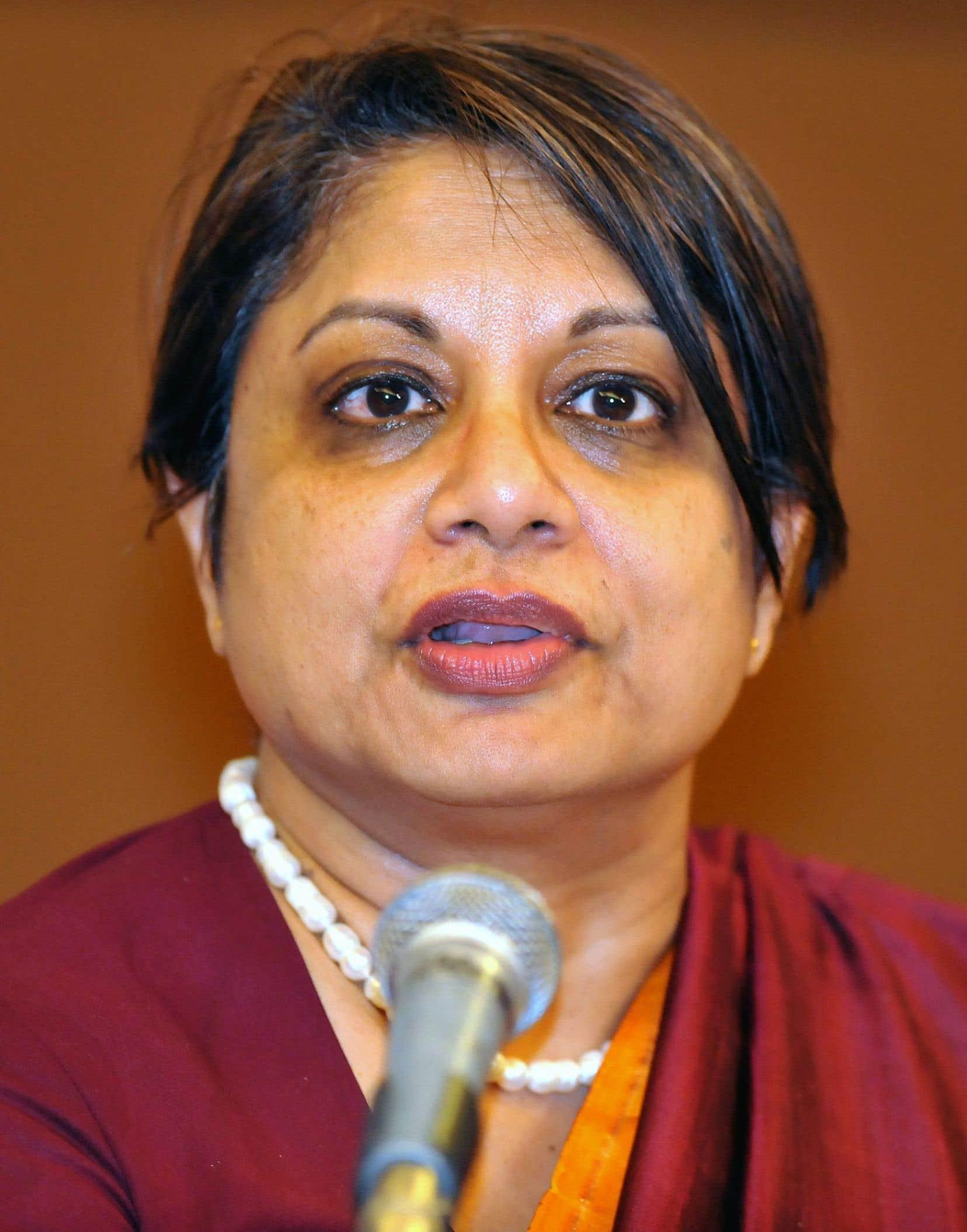 Radhika Coomaraswamy, ancienne représentante spéciale de l'ONU sur la violence envers les femmes et sur les enfants dans les conflits armés.