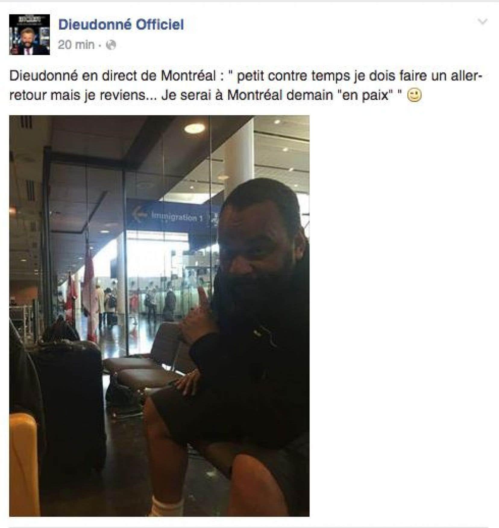 Une publication tirée de la page Facebook de l'humoriste français Dieudonné.
