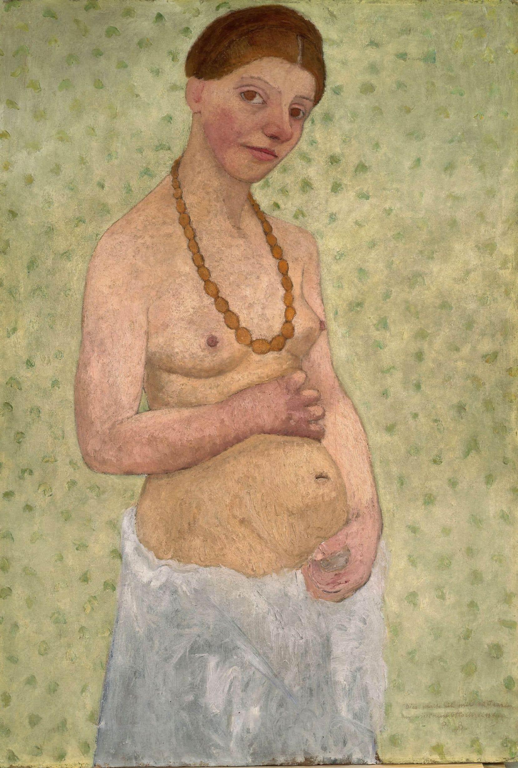 «On peint des femmes, écrit Darrieussecq, et là, attention: c'est la première fois. La première fois qu'une femme se peint nue.» Autoportrait au sixième anniversaire de mariage de Paula Modersohn-Becker. Détrempe sur carton, 101,8 x 70,2cm Museen Böttcherstrasse, Paula Modersohn-Becker Museum, Brême.