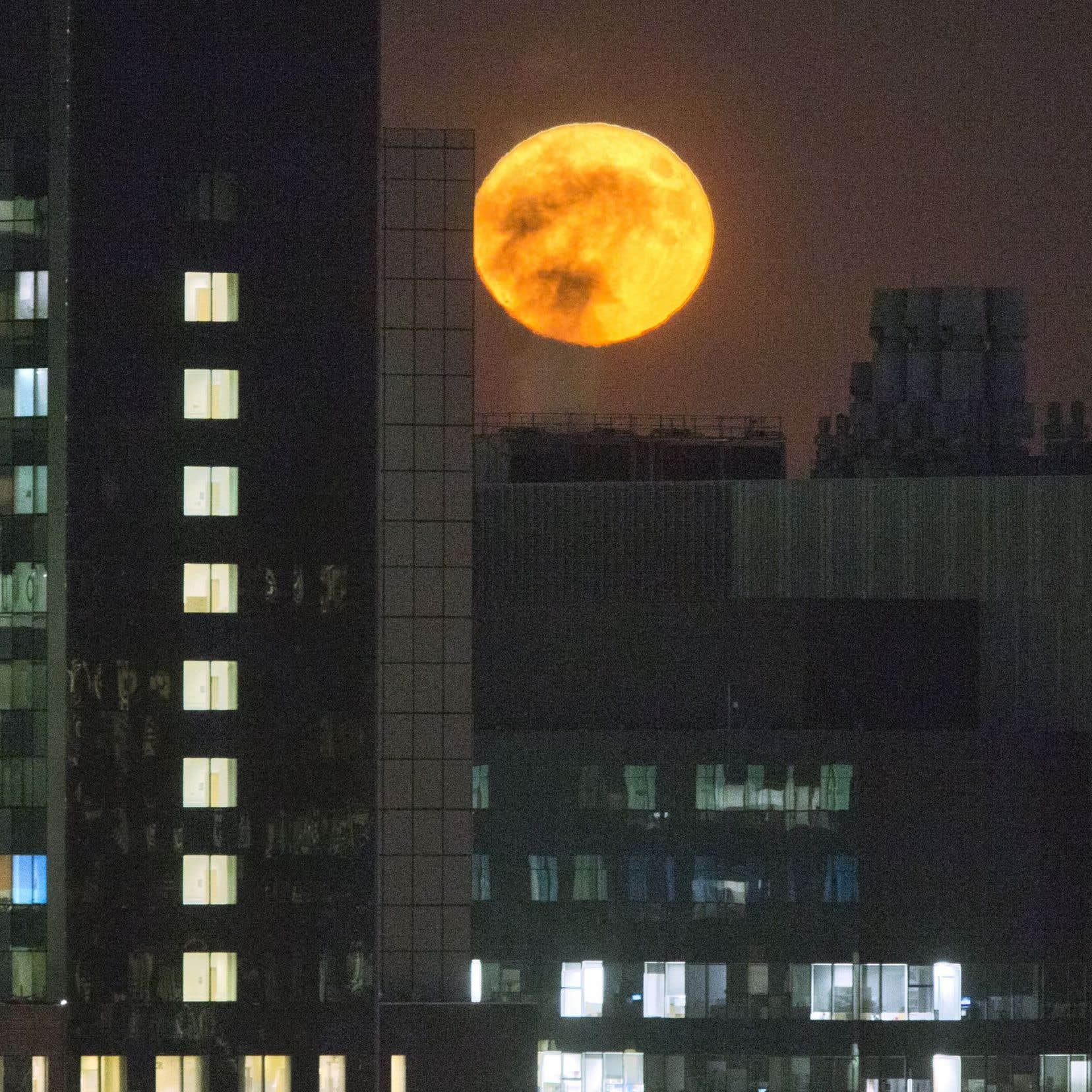 La «super lune» vue depuis le centre-ville de Montréal