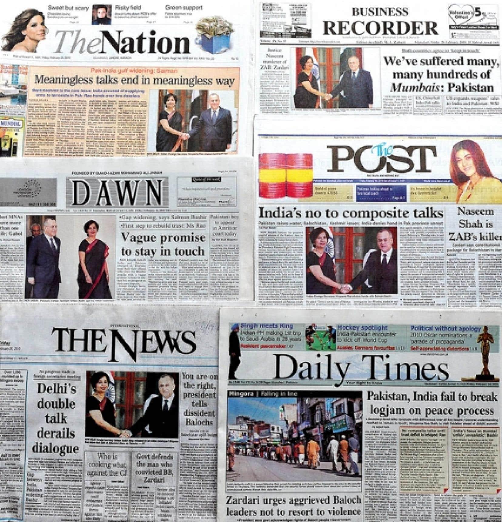 Des unes de journaux sur les difficiles relations entre l'Inde et le Pakistan.