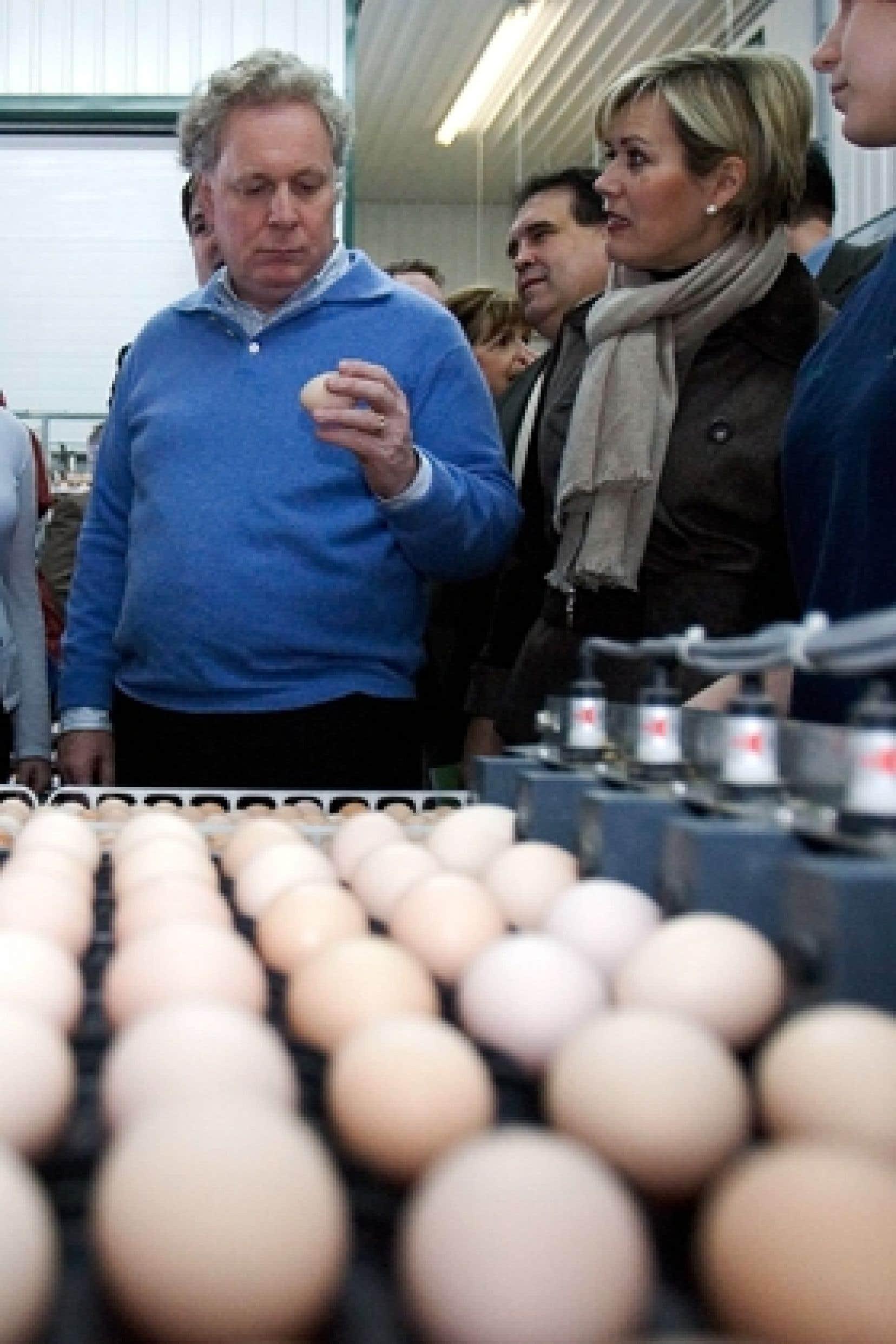Parmi les engagements du Parti libéral du Québec, à peine deux visent spécifiquement l'alimentation. Sur notre photo, le chef Jean Charest et son épouse, Michelle Dionne, visitent une ferme avicole de Saint-Hyacinthe pendant la campagne électoral