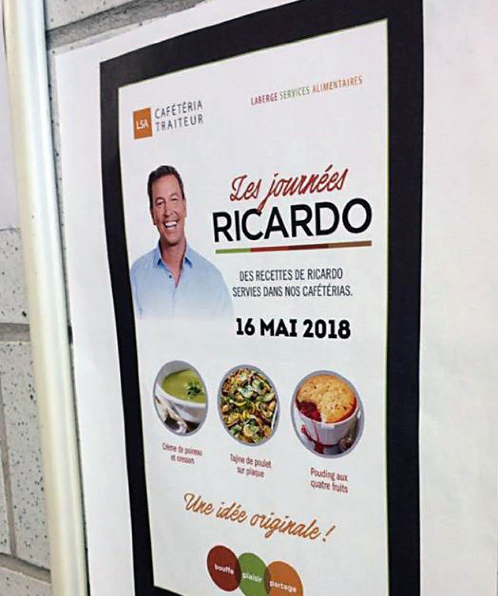 L'affiche de la cafétéria de l'école Gérard-Filion