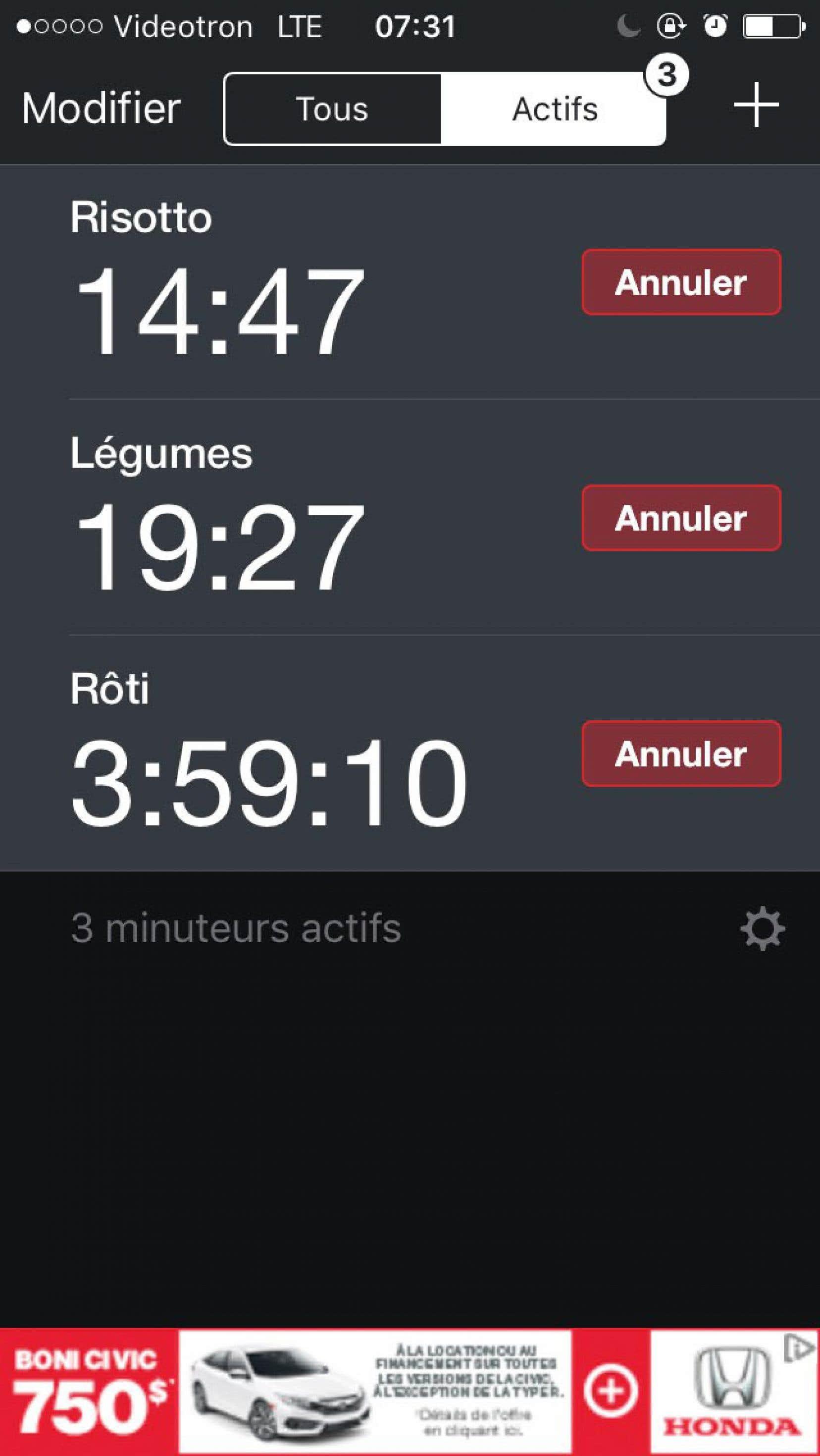 Minuteur + permet de faire démarrer plusieurs minuteurs à la fois, chacun clairement identifié au plat lui correspondant.