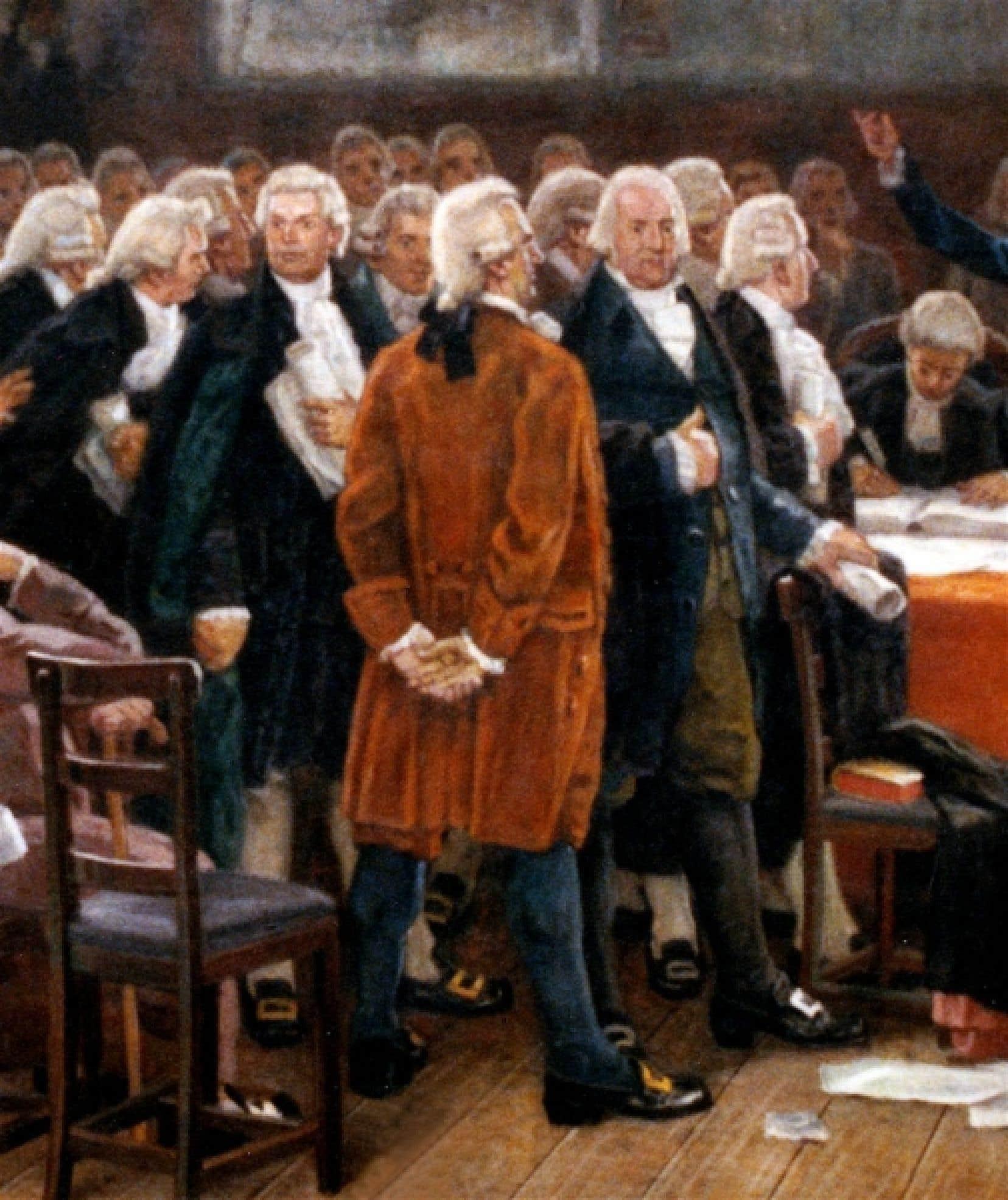 De profil, avec une redingote brun-rouge, Pierre-Stanislas Bédard, comme imaginé par le peintre Charles Huot en 1913, dans son grand tableau Le Débat des langues, qui se trouve au Salon bleu.