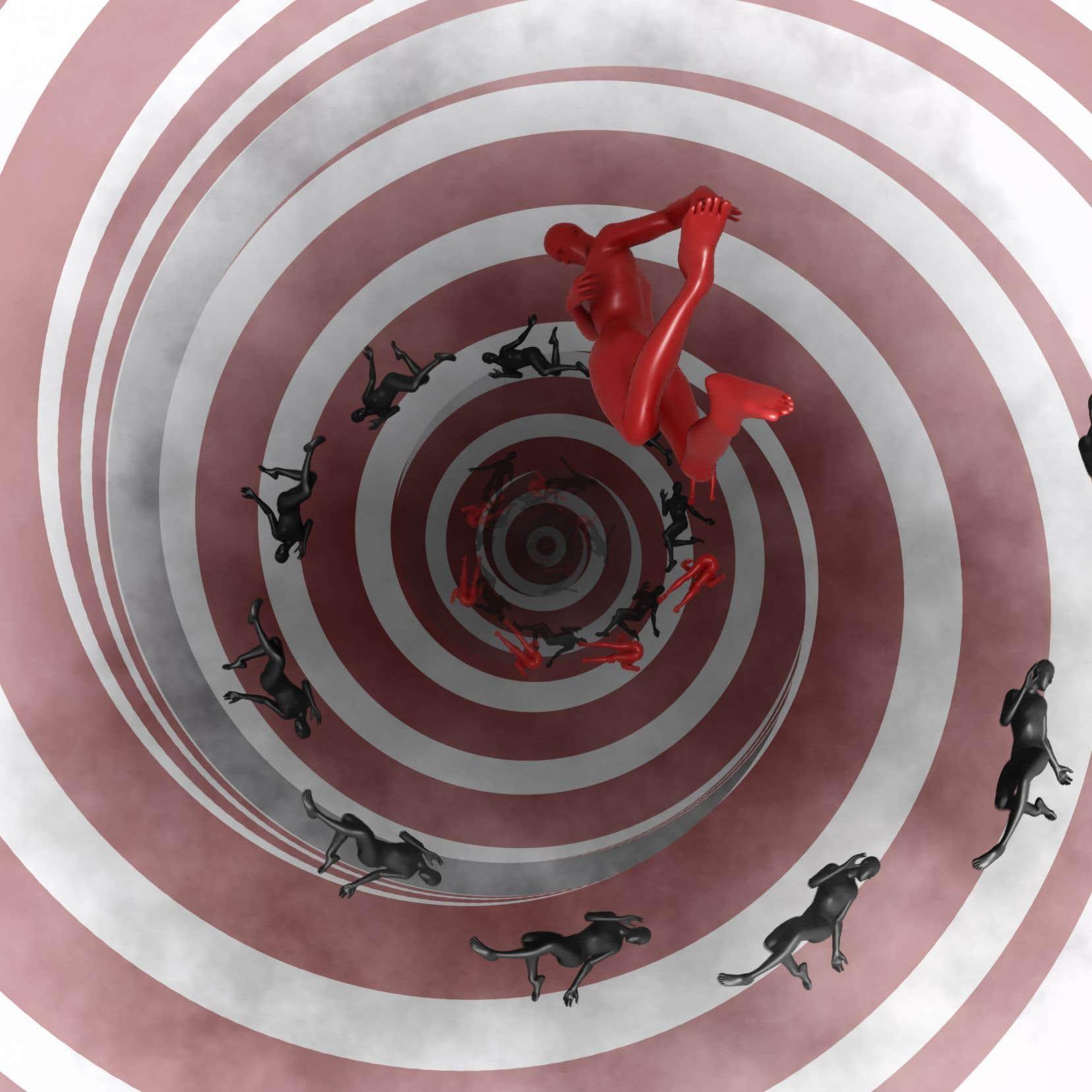 Au long de cette chute infinie, une nuée humaine forme une spirale infernale dans laquelle on finit par se projeter, emporté par cet essaim de corps aux couleurs, trajectoires et dimensions changeantes.
