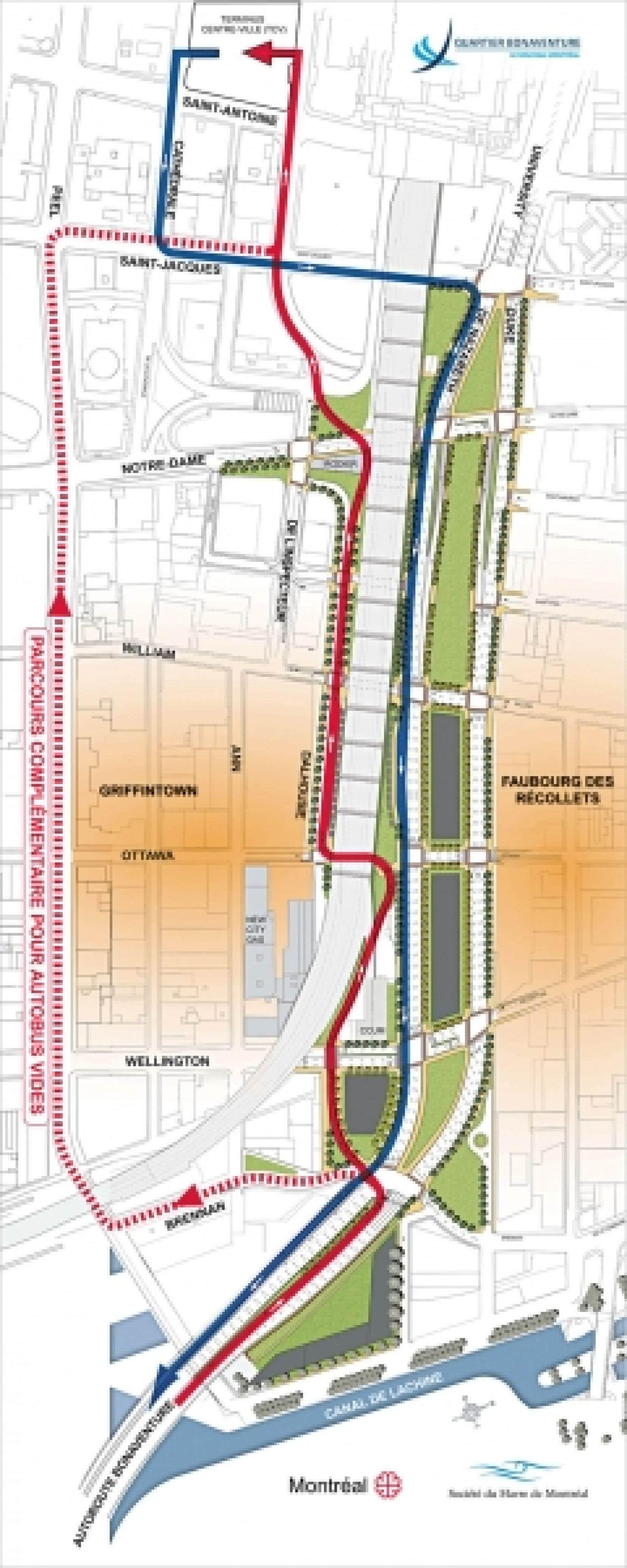 Les autobus provenant de la Rive-Sud (en rouge) emprunteront un tracé sinueux afin d'éviter de percer le viaduc ferroviaire et épargner l'immeuble patrimonial de la New City Gas. Dans l'autre direction, les autobus emprunteront le futur boulevard Bonaventure (en bleu) en direction de la Rive-Sud.