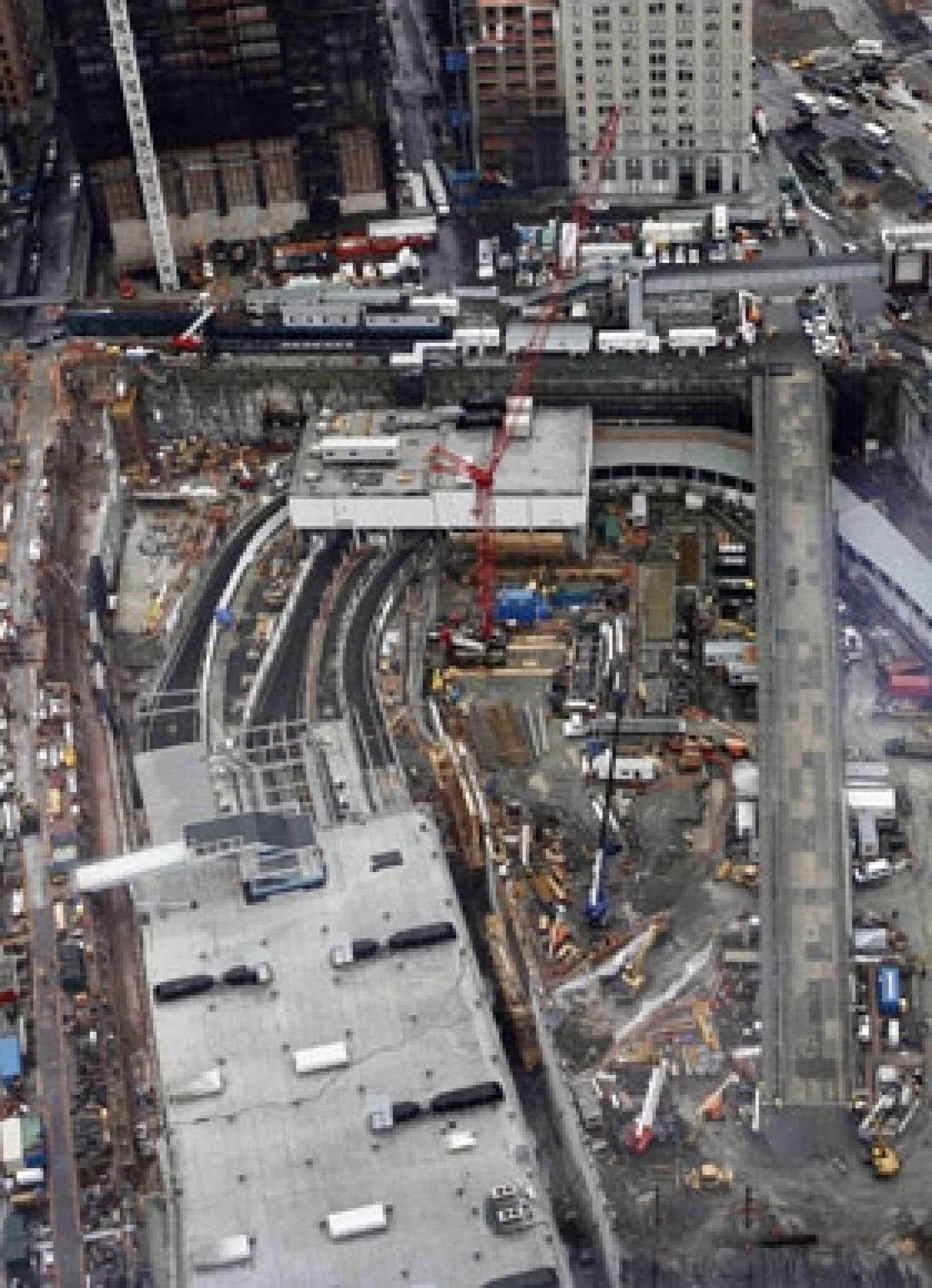 Le site du World Trade Center sept ans après les attentats du 11-Septembre.