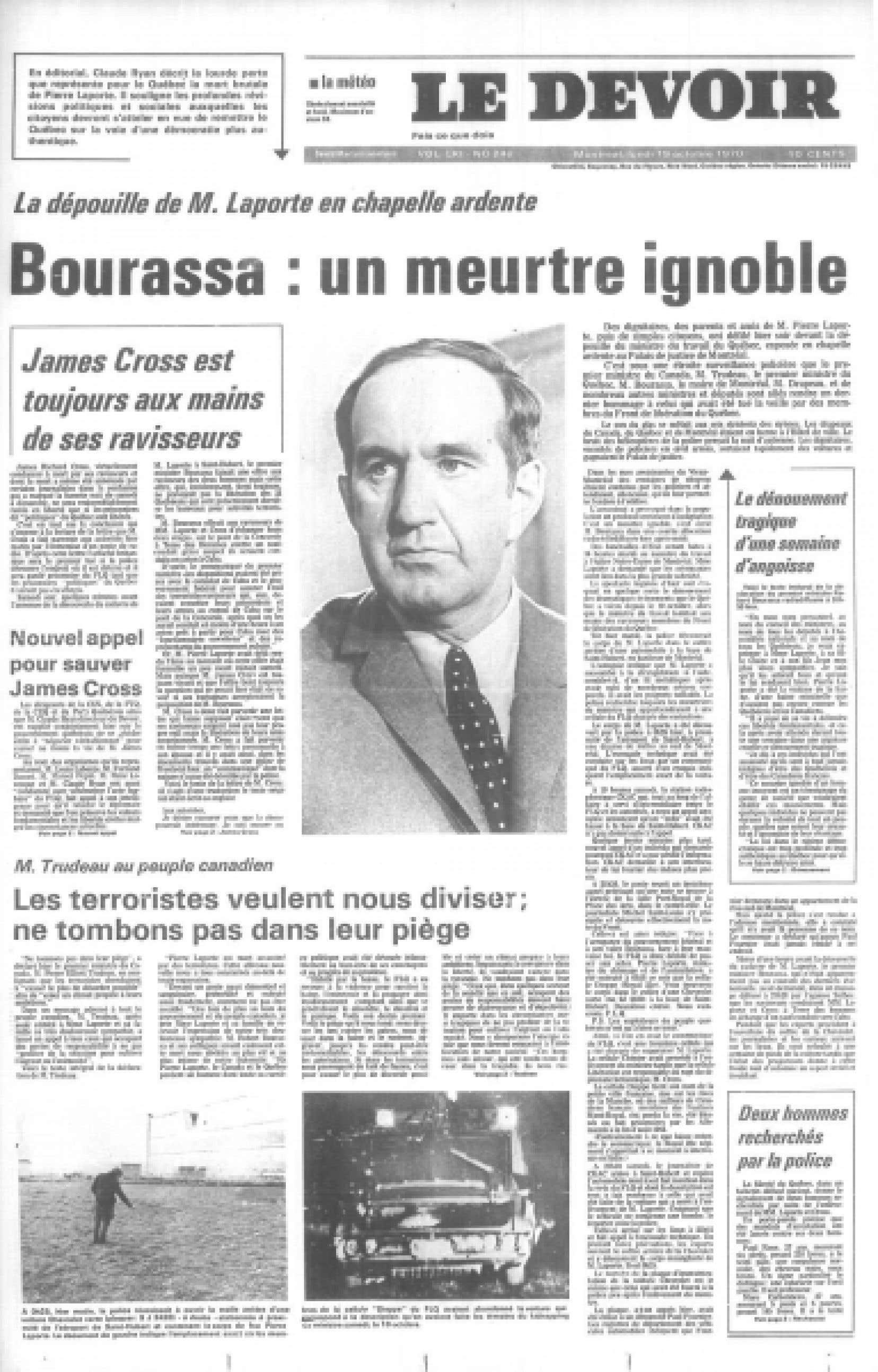 La une du Devoir, le 19 octobre 1970.<br />