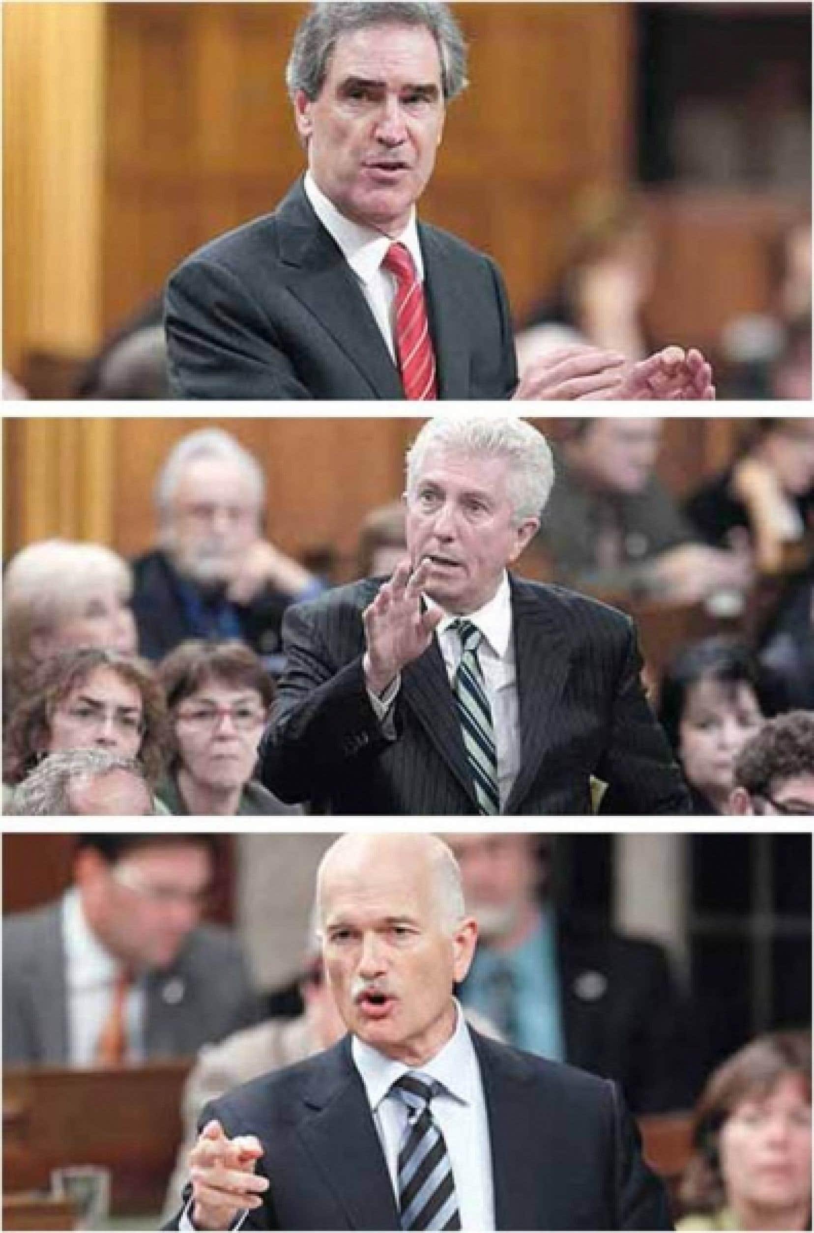 Les trois partis d'opposition ont signalé leur déception hier. De haut en bas: Michael Ignatieff, Gilles Duceppe et Jack Layton.