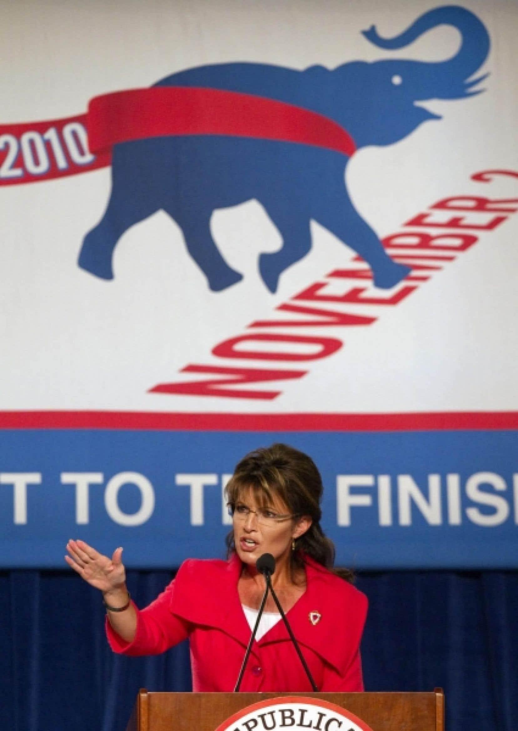Sarah Palin samedi lors d'une campagne de financement à Orlando, en Floride.<br />